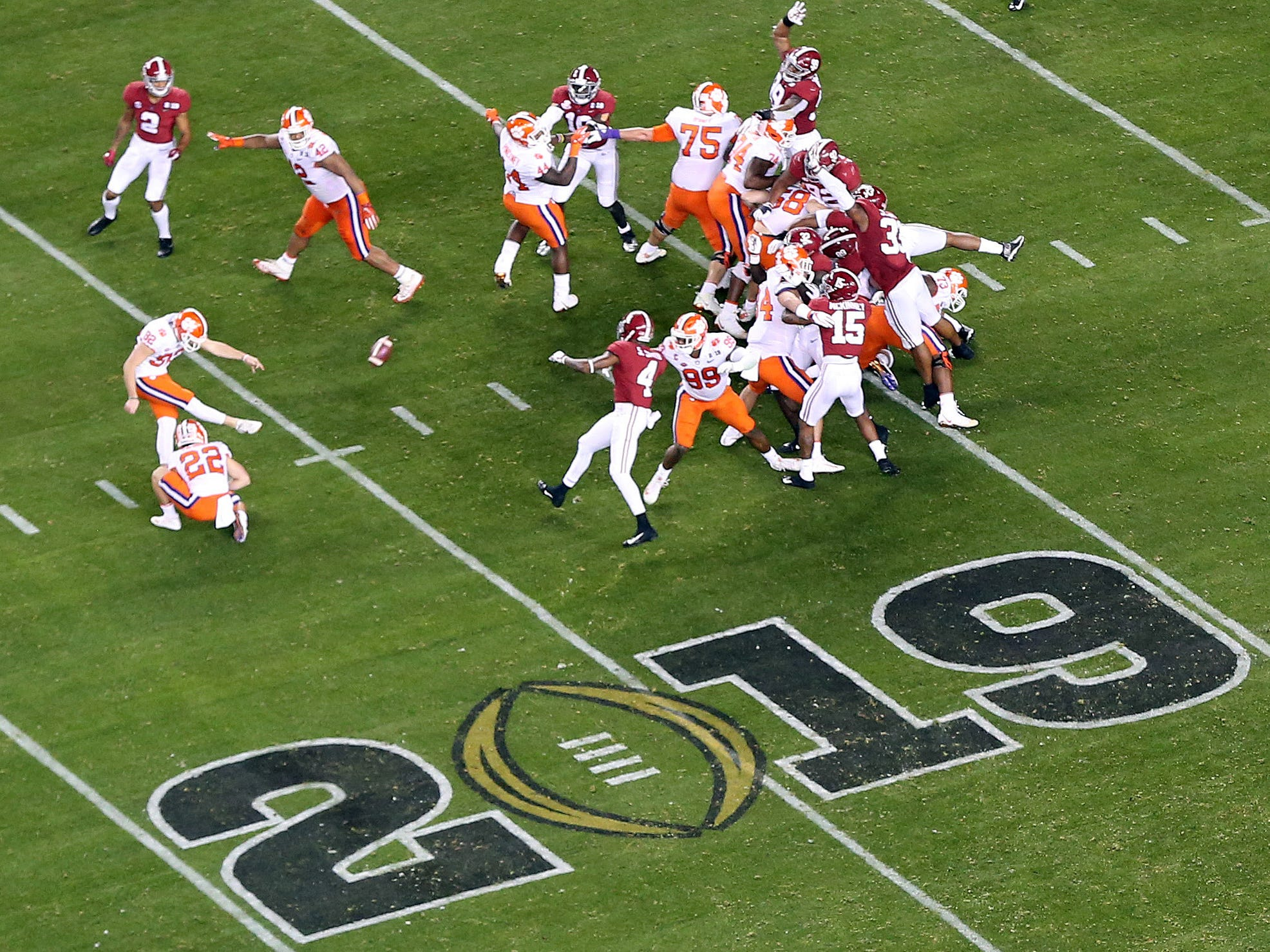 Jan 7, 2019; Santa Clara, CA, USA; Clemson Tigers kicker Greg Huegel (92) kicks a field goal in the second quarter against the Alabama Crimson Tide during the 2019 College Football Playoff Championship game at Levi's Stadium. Mandatory Credit: James Lang-USA TODAY Sports