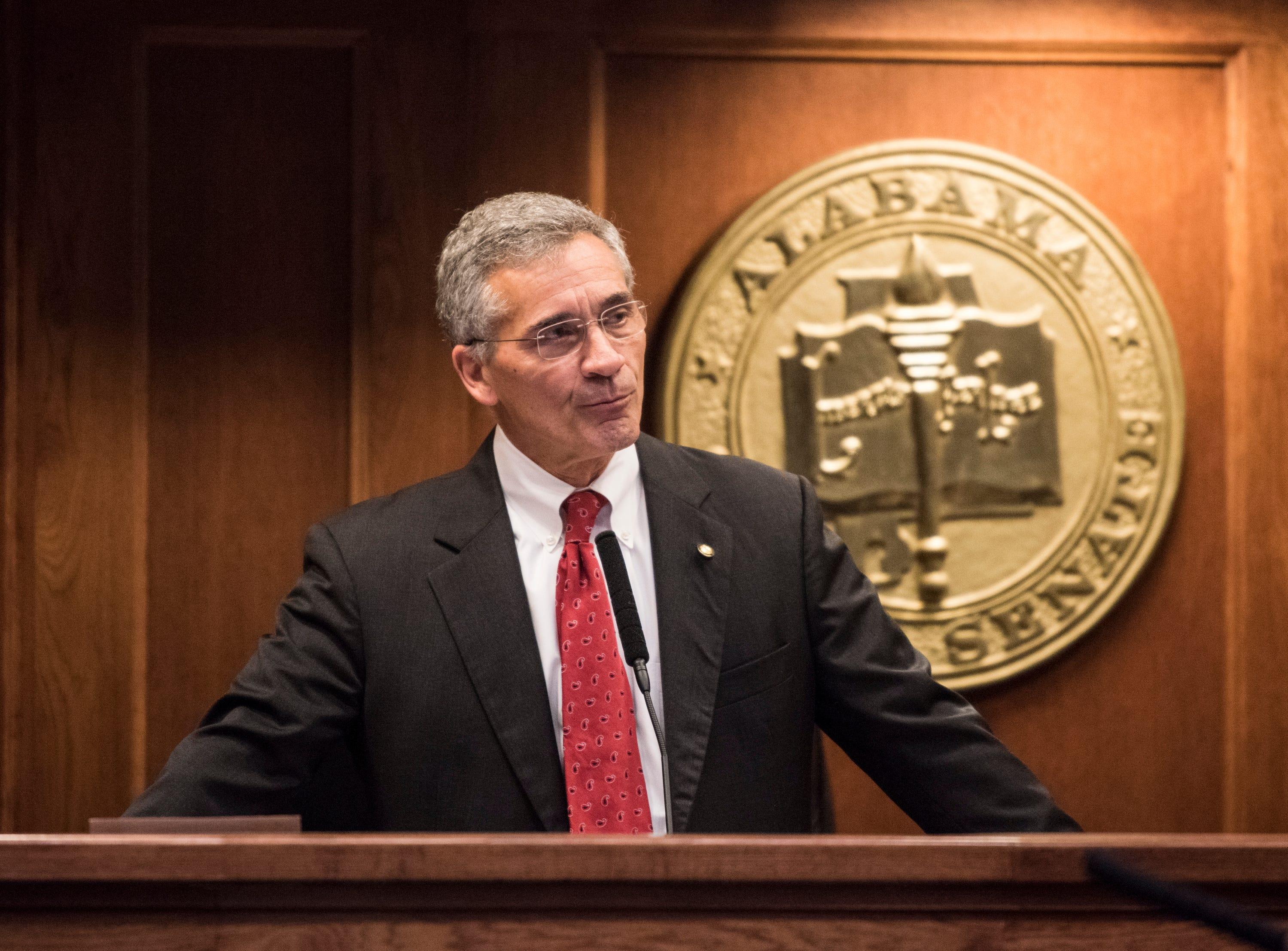 Senate President Pro Tem Del Marsh address the senate during the 2019 Alabama Legislature's organizational session at the Alabama State House in Montgomery, Ala., on Tuesday, Jan. 8, 2019.