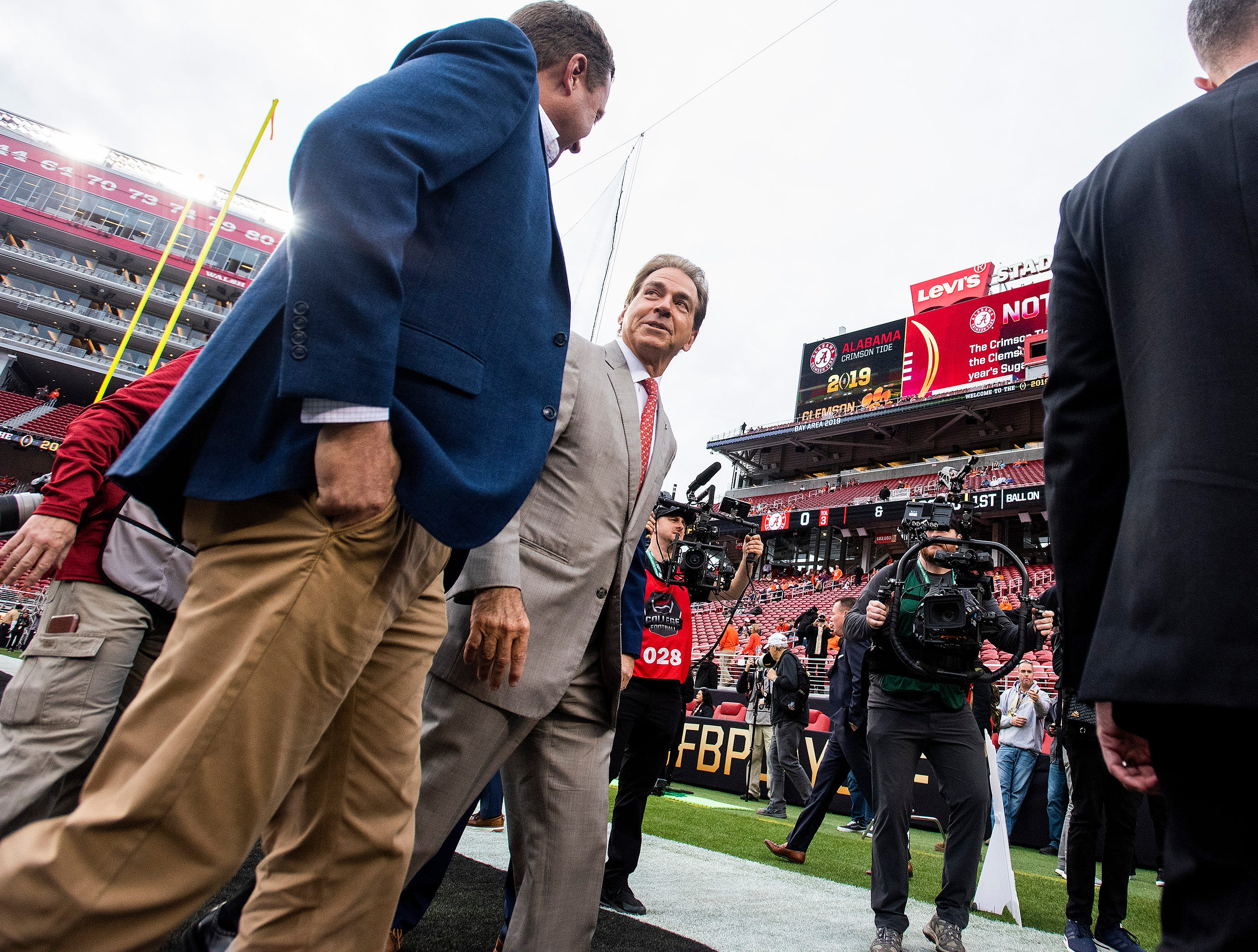 Alabama head coach Nick Saban walks the field as the teams arrive the College Football Playoff National Championship game at Levi's Stadium in Santa Clara, Ca., on Monday January 7, 2019.
