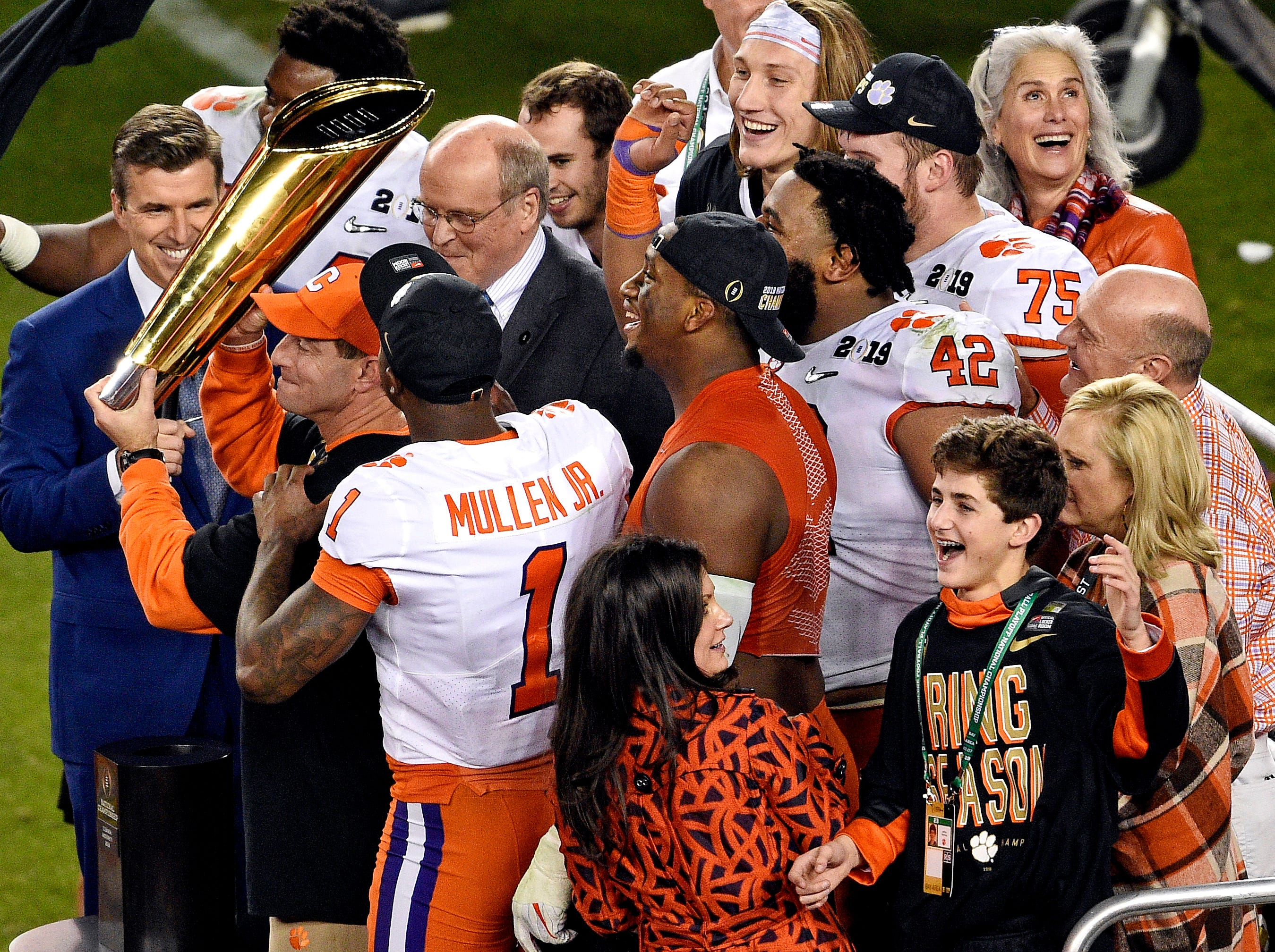 Jan 7, 2019; Santa Clara, CA, USA; Clemson Tigers head coach Dabo Swinney celebrates with the national championship trophy after beating the Alabama Crimson Tide during the 2019 College Football Playoff Championship game at Levi's Stadium. Mandatory Credit: Kelvin Kuo-USA TODAY Sports