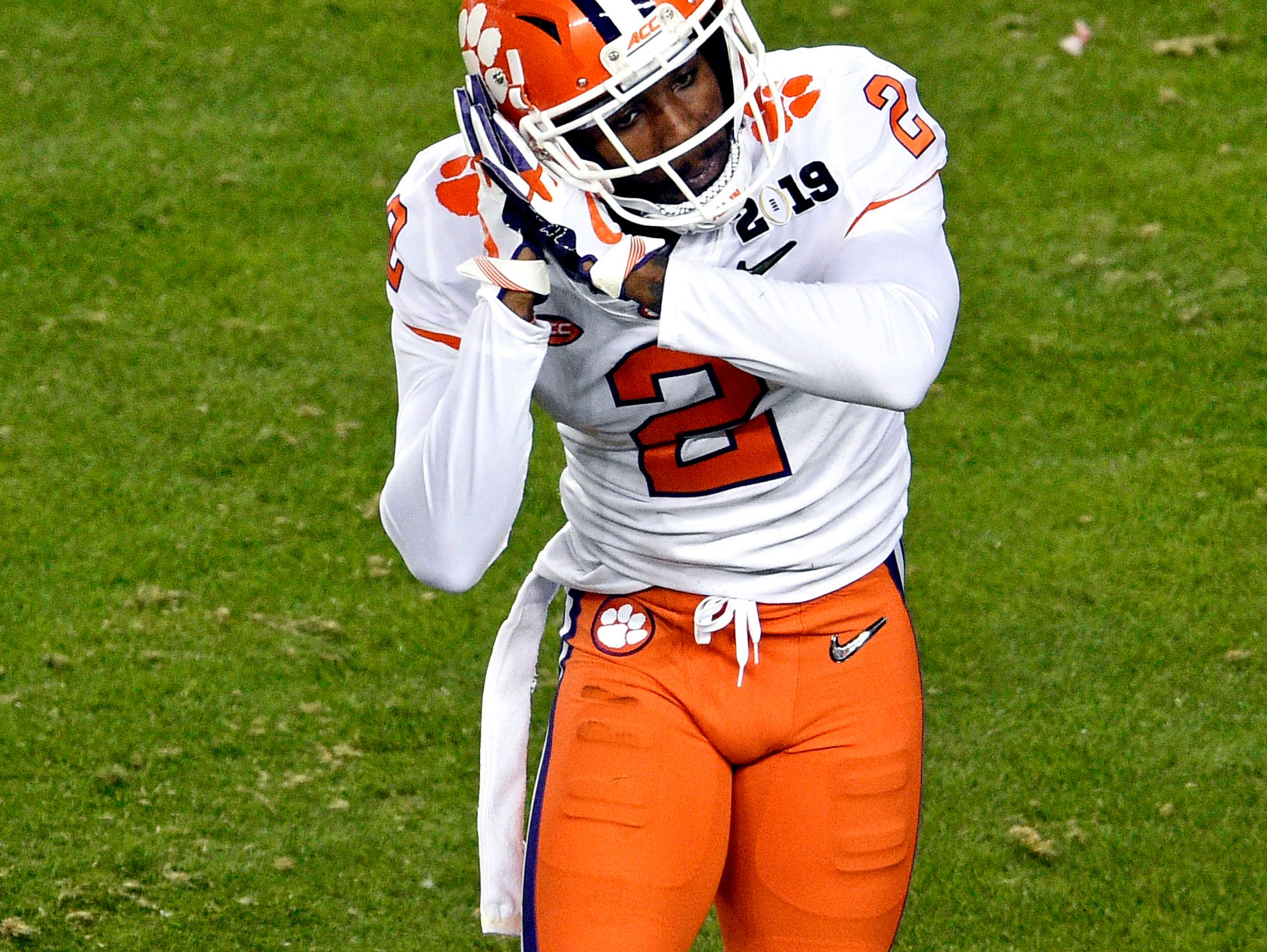 Jan 7, 2019; Santa Clara, CA, USA; Clemson Tigers cornerback Mark Fields (2) reacts after a play during the third quarter against the Alabama Crimson Tide during the 2019 College Football Playoff Championship game at Levi's Stadium. Mandatory Credit: Kelvin Kuo-USA TODAY Sports