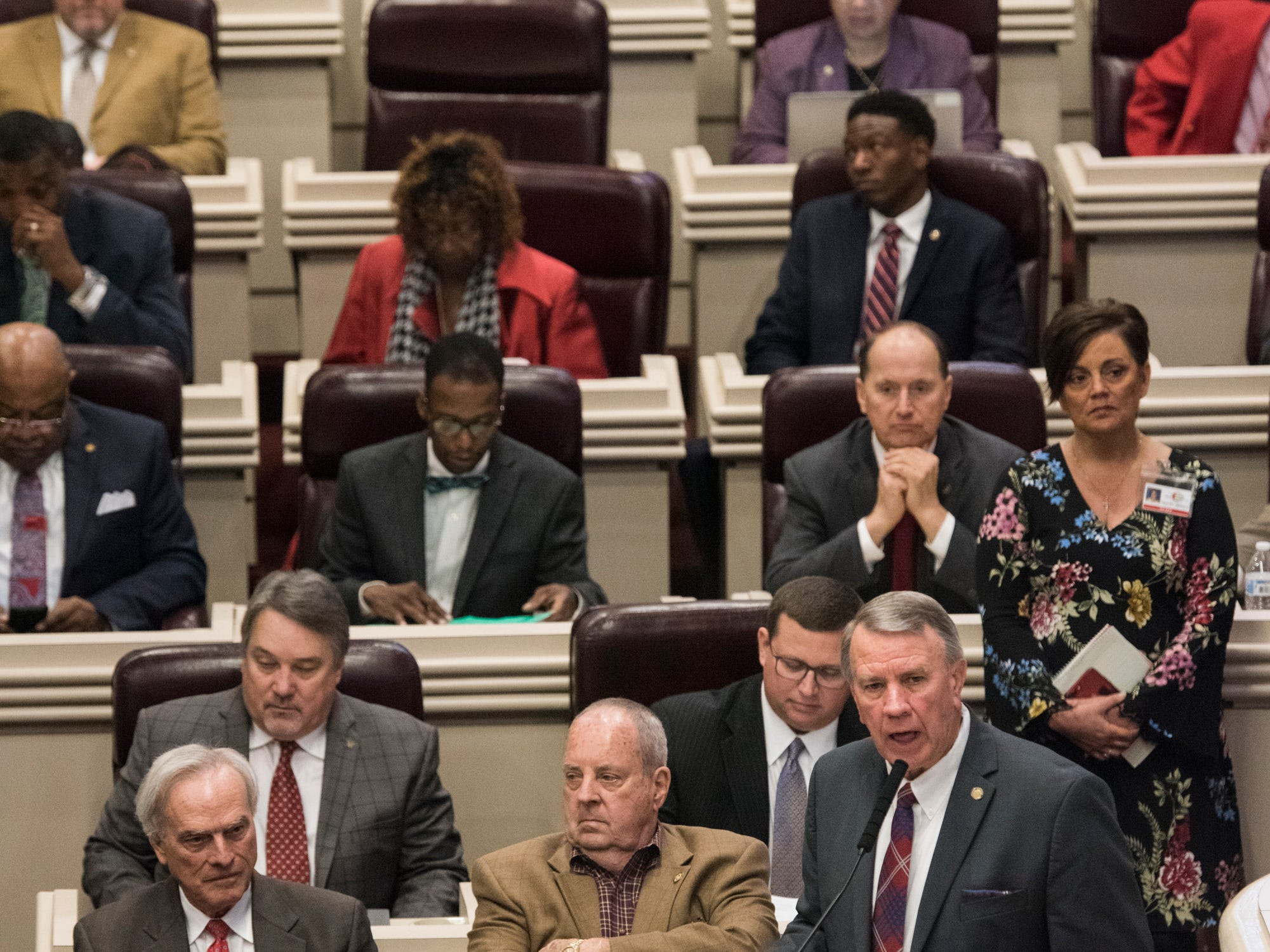 House Speaker Mac McCutcheon address the house during the 2019 Alabama Legislature's organizational session at the Alabama State House in Montgomery, Ala., on Tuesday, Jan. 8, 2019.