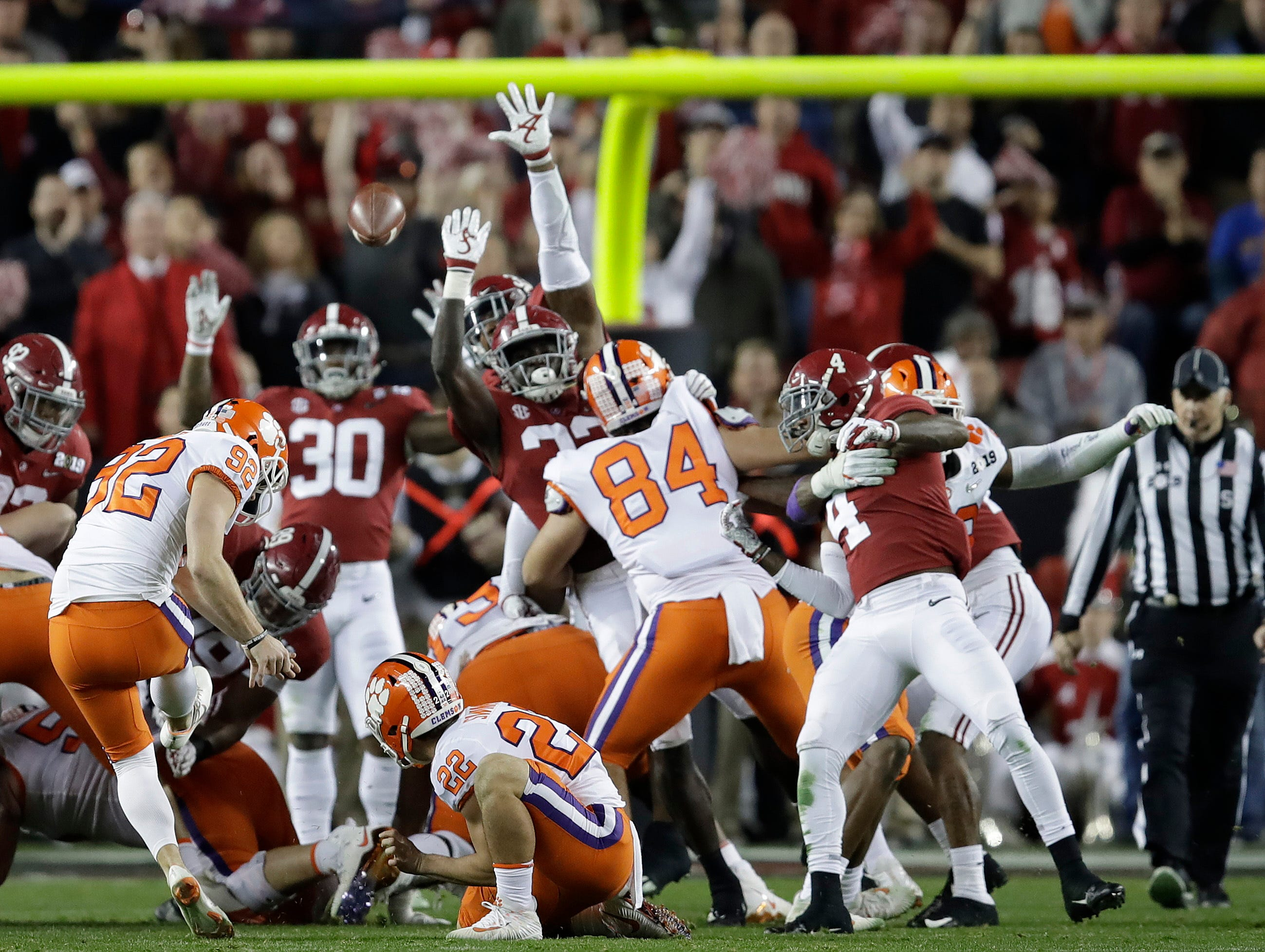 Clemson's Greg Huegel kicks a field goal during the first half of the NCAA college football playoff championship game against Alabama, Monday, Jan. 7, 2019, in Santa Clara, Calif. (AP Photo/Ben Margot)