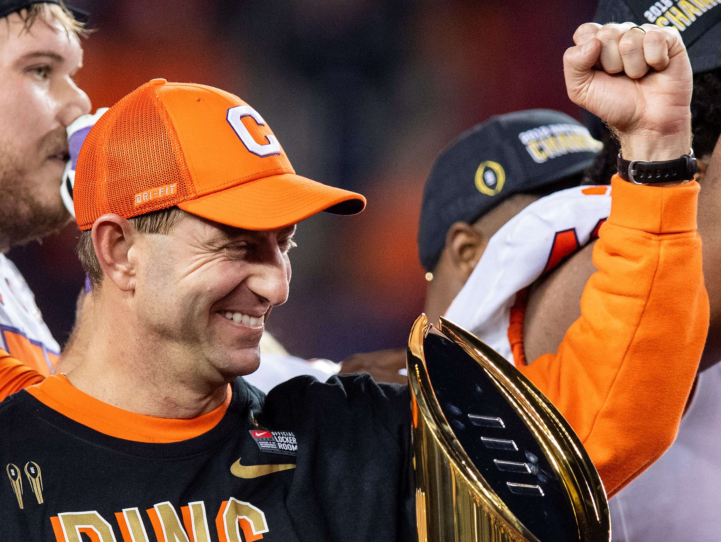 Clemson head coach Dabo Swinney after defeating Alabama in the College Football Playoff National Championship game at Levi's Stadium in Santa Clara, Ca., on Monday January 7, 2019.