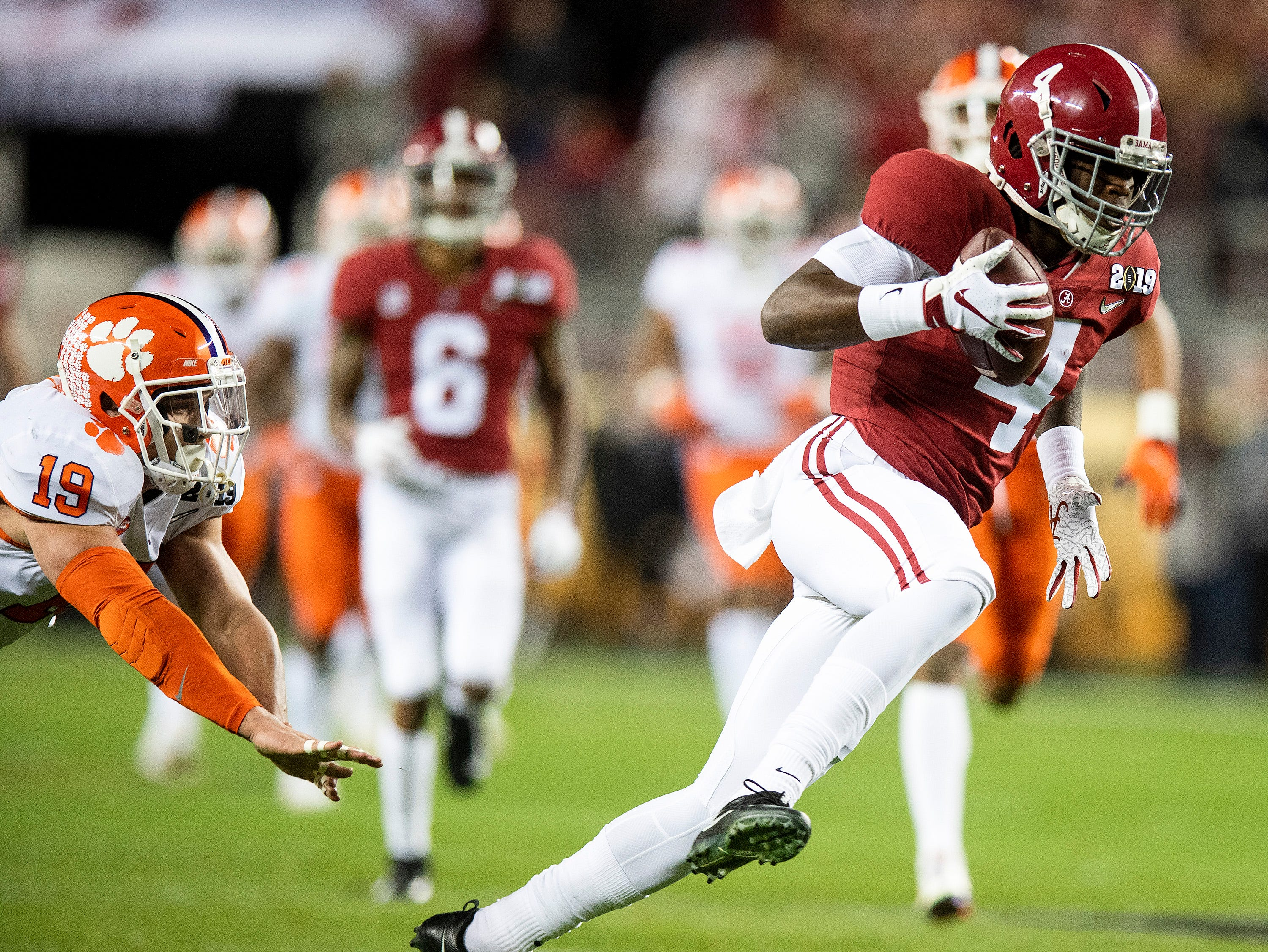 Alabama wide receiver Jerry Jeudy (4) scores a touchdown against Clemson In first half action of the College Football Playoff National Championship game at Levi's Stadium in Santa Clara, Ca., on Monday January 7, 2019.