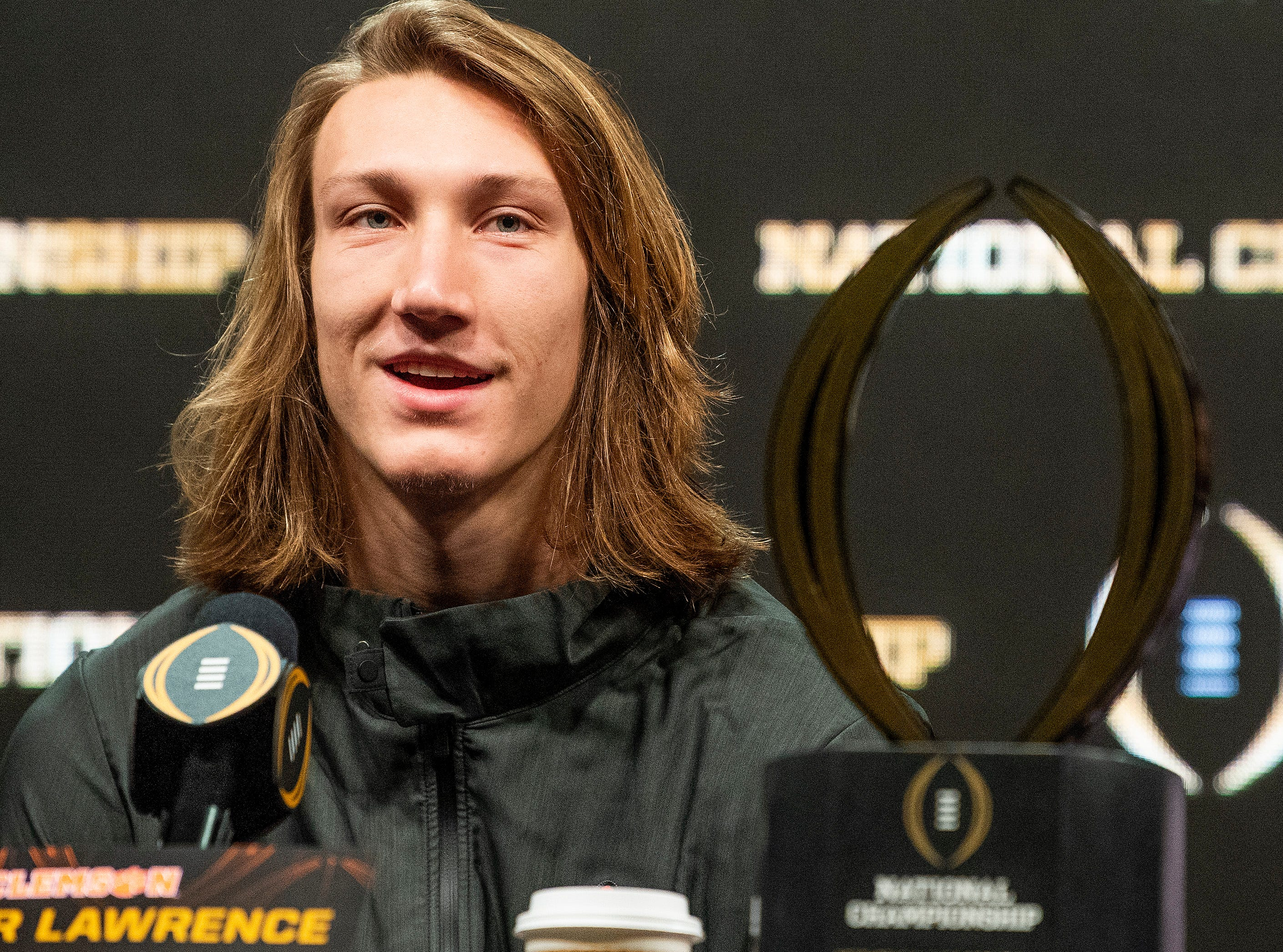 Clemson quarterback Trevor Lawrence (16) speaks during the College Football Playoff National Championship press conference in San Jose, Ca., on Tuesday January 8, 2019.