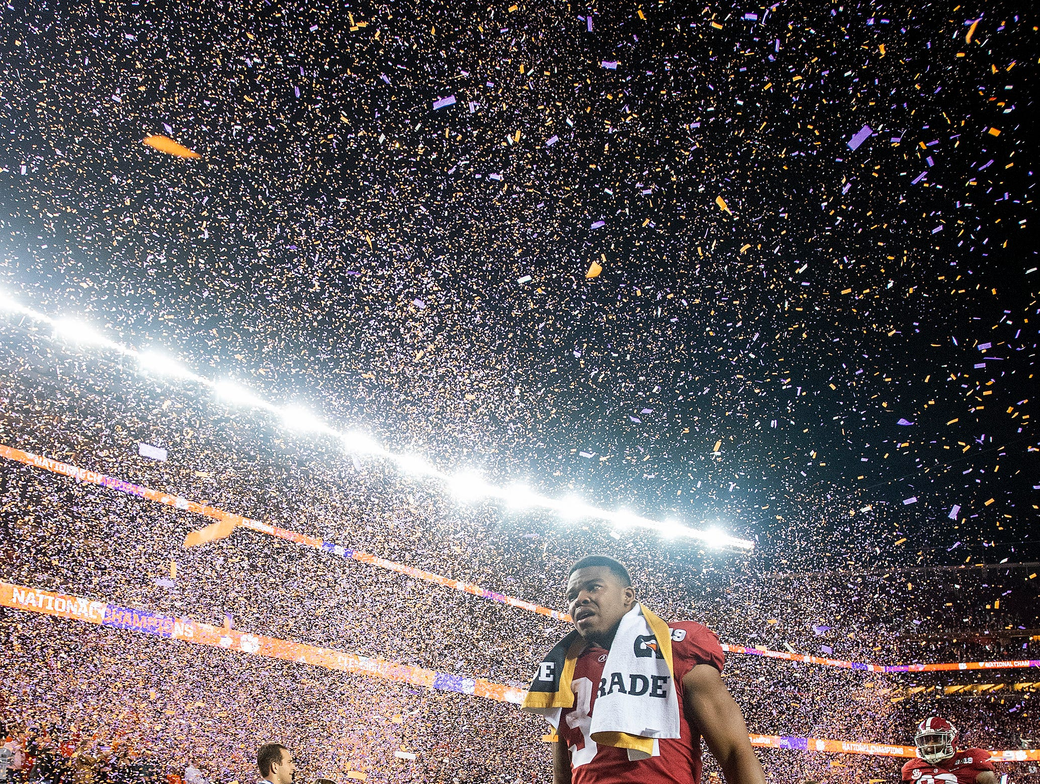 Alabama running back Damien Harris (34) walks off the field after losing to Clemson in the College Football Playoff National Championship game at Levi's Stadium in Santa Clara, Ca., on Monday January 7, 2019.