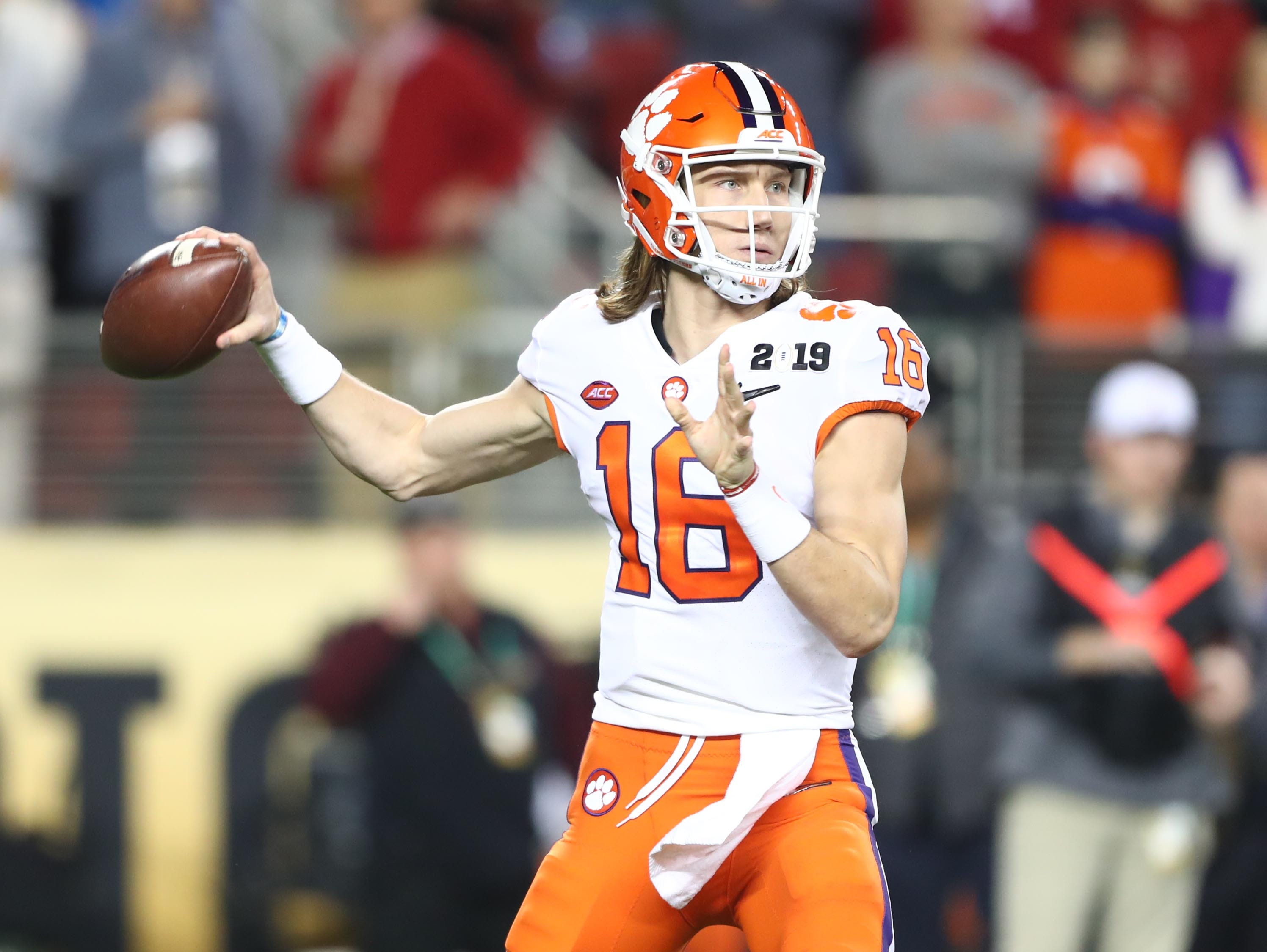Jan 7, 2019; Santa Clara, CA, USA; Clemson Tigers quarterback Trevor Lawrence (16) throws a pass against the Alabama Crimson Tide in the first half during the 2019 College Football Playoff Championship game at Levi's Stadium. Mandatory Credit: Mark J. Rebilas-USA TODAY Sports