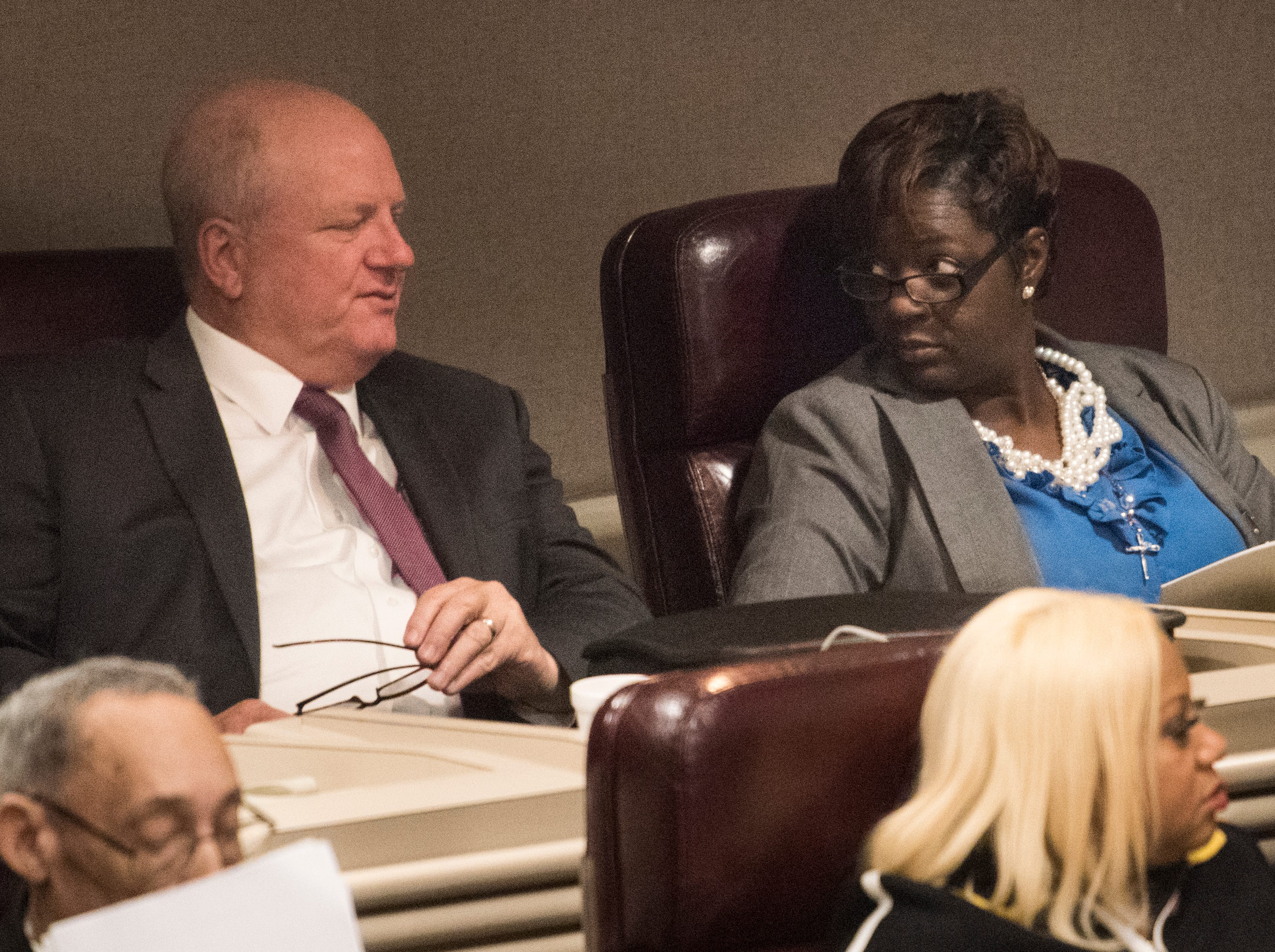 Rep. Tashina Morris, right, during the 2019 Alabama Legislature's organizational session at the Alabama State House in Montgomery, Ala., on Tuesday, Jan. 8, 2019.