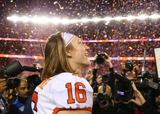 Jan 7, 2019; Santa Clara, CA, USA; Clemson Tigers quarterback Trevor Lawrence (16) celebrates after defeating the Alabama Crimson Tide in the 2019 College Football Playoff Championship game at Levi's Stadium. Mandatory Credit: Mark Rebilas-USA TODAY Sports