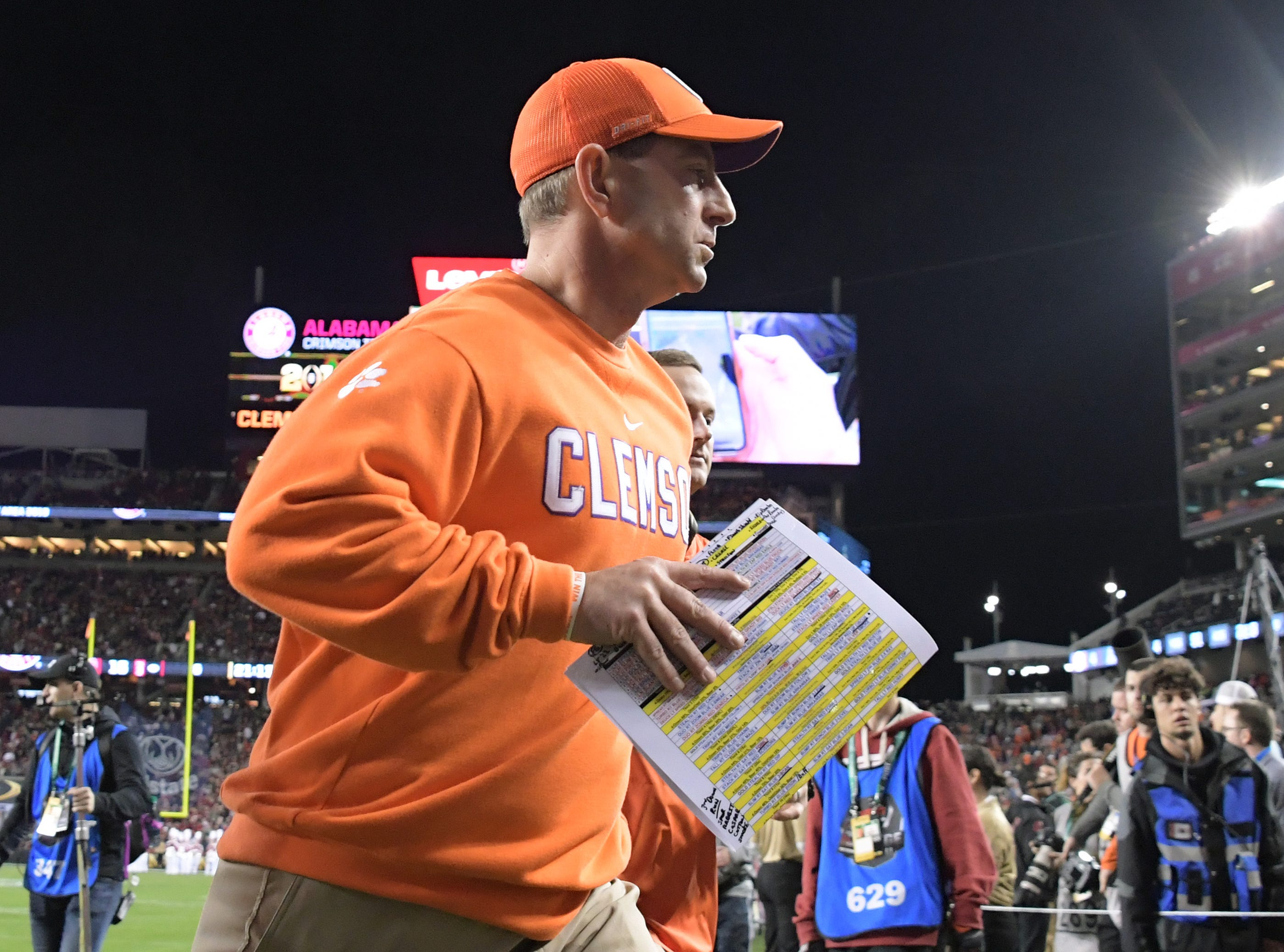 Jan 7, 2019; Santa Clara, CA, USA; Clemson Tigers head coach Dabo Swinney leaves the field after the end of the first half against the Alabama Crimson Tide during the 2019 College Football Playoff Championship game at Levi's Stadium. Mandatory Credit: Kirby Lee-USA TODAY Sports