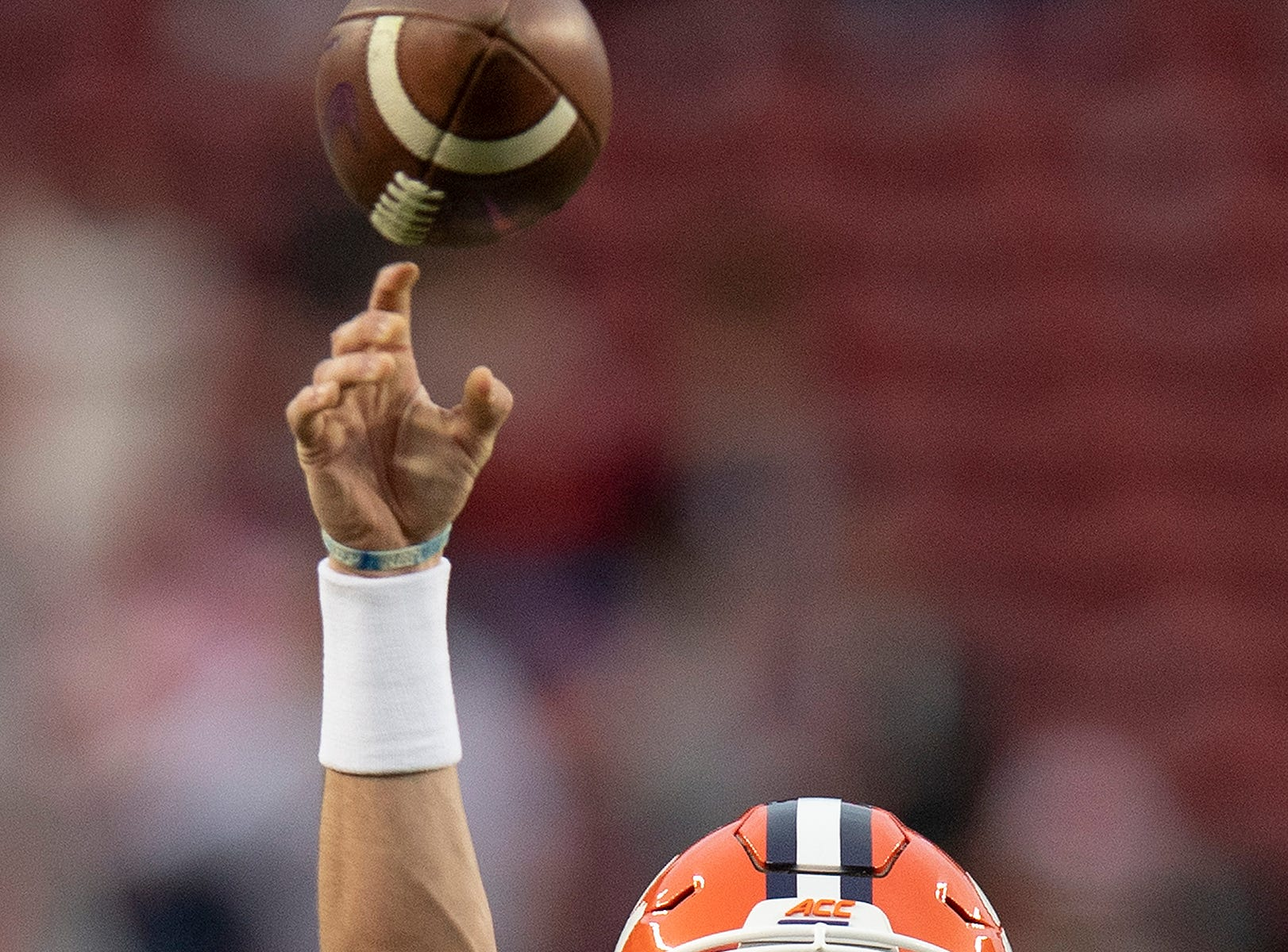 Clemson quarterback Trevor Lawrence (16) warms up before the College Football Playoff National Championship game at Levi's Stadium in Santa Clara, Ca., on Monday January 7, 2019.