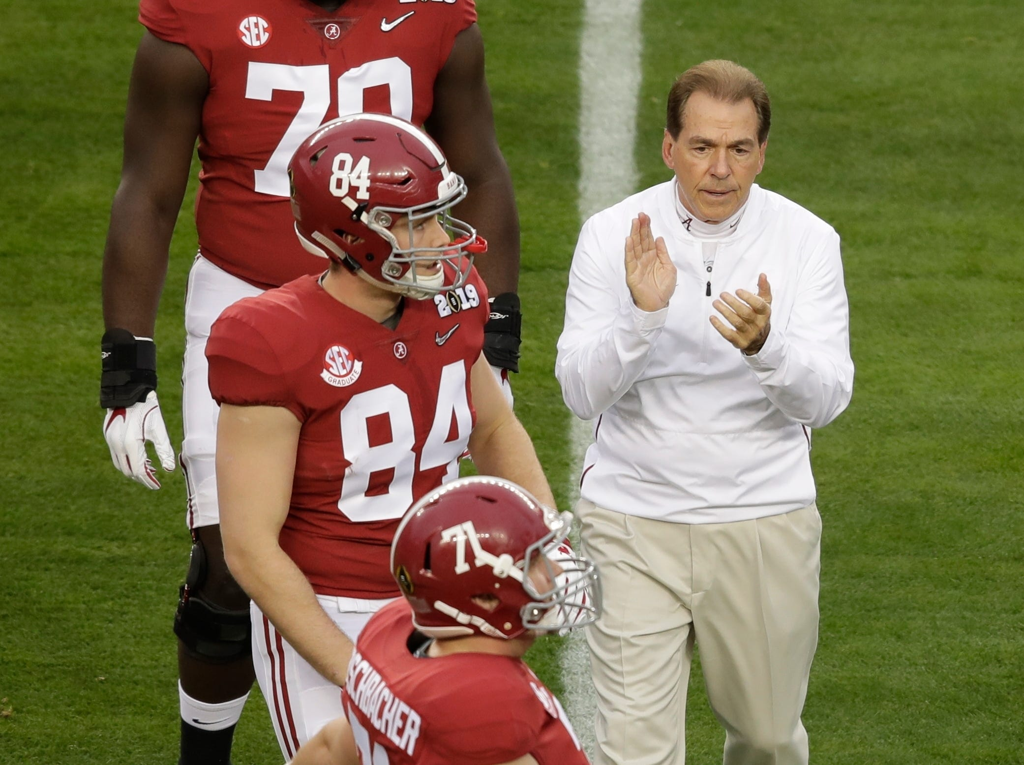 Alabama head coach Nick Saban watches warm ups before the NCAA college football playoff championship game against Clemson Monday, Jan. 7, 2019, in Santa Clara, Calif. (AP Photo/Jeff Chiu)
