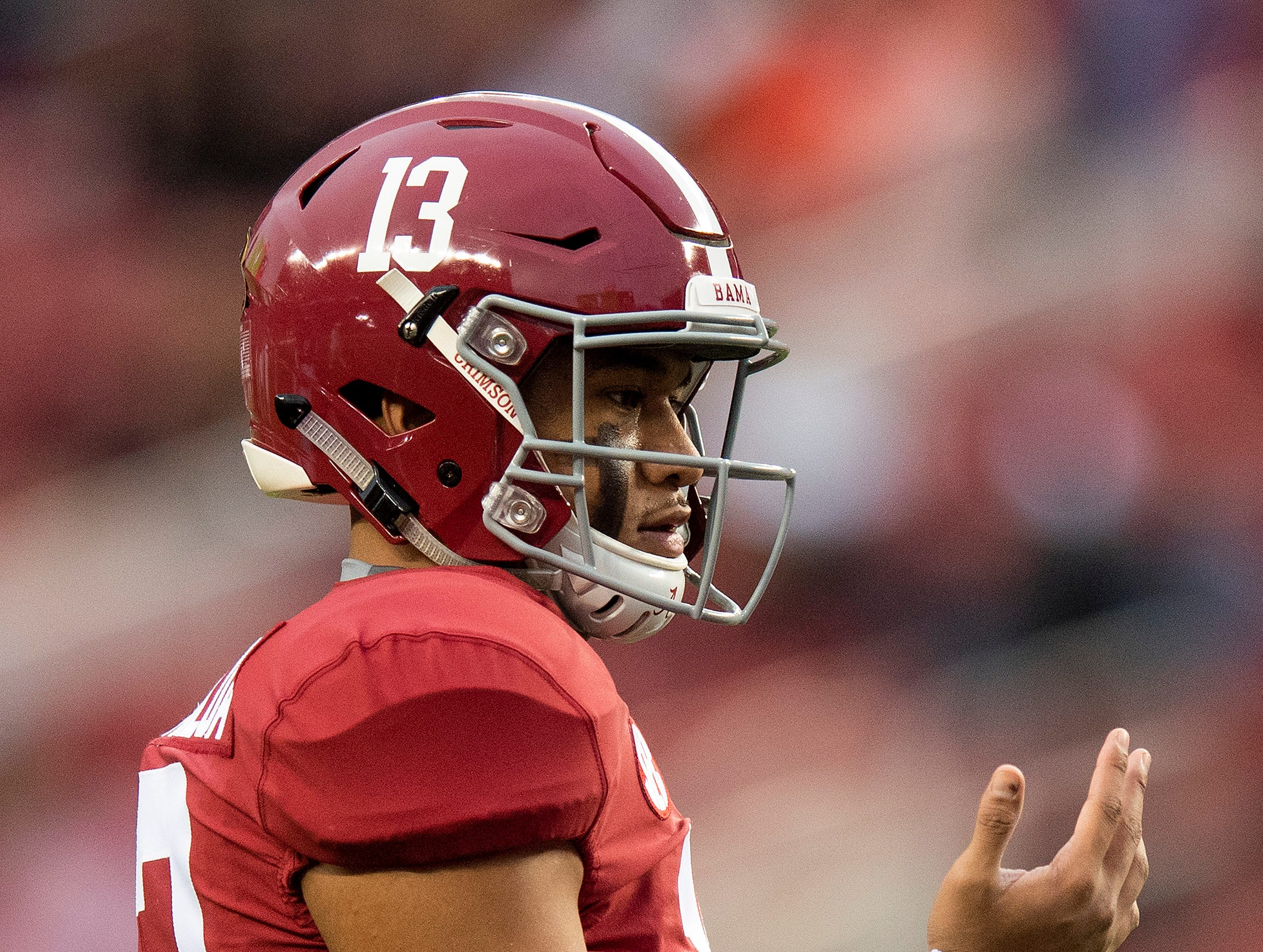 Alabama quarterback Tua Tagovailoa (13) before the College Football Playoff National Championship game at Levi's Stadium in Santa Clara, Ca., on Monday January 7, 2019.