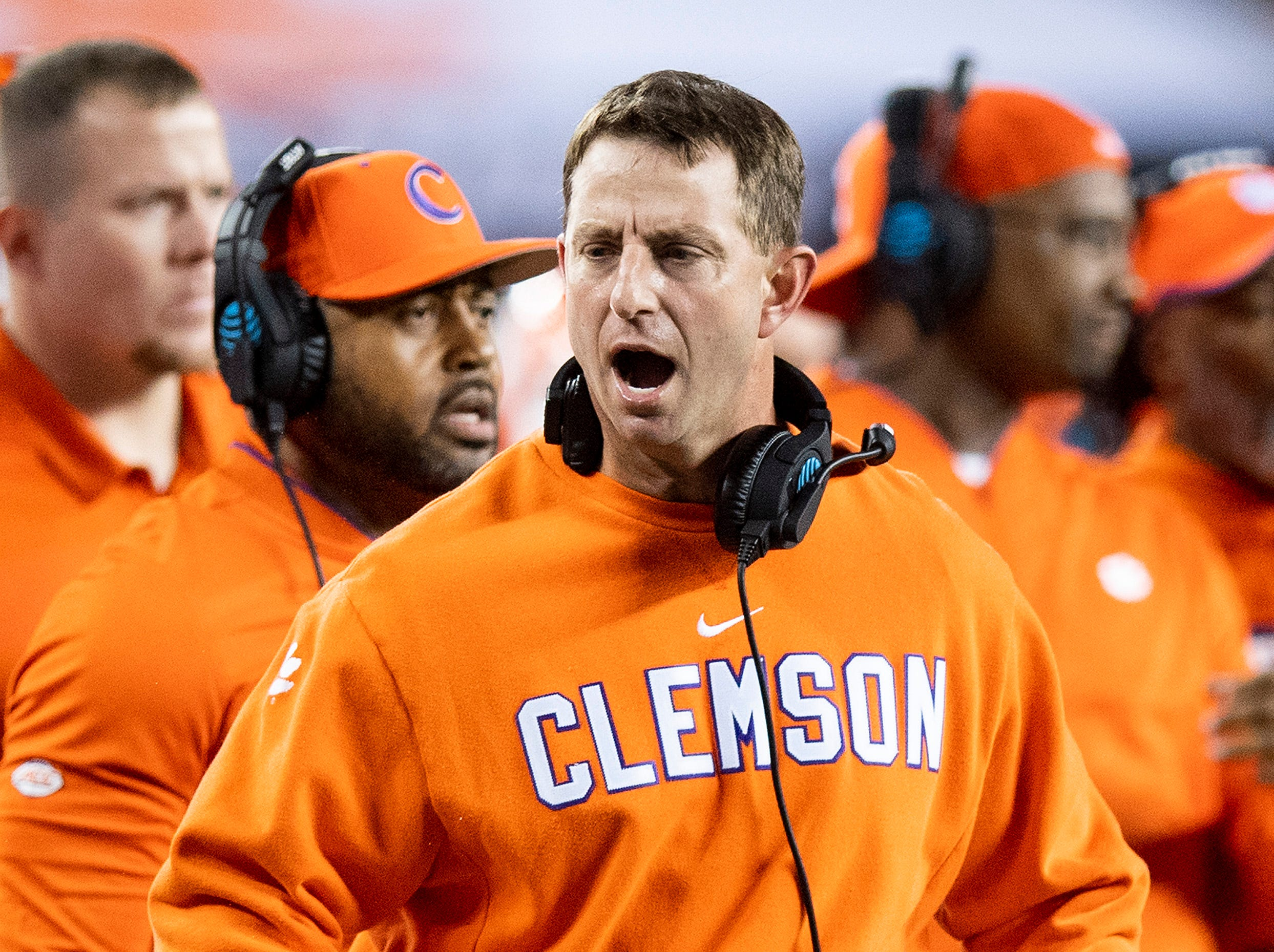 Clemson head coach Dabo Swinney In first half action of the College Football Playoff National Championship game at Levi's Stadium in Santa Clara, Ca., on Monday January 7, 2019.