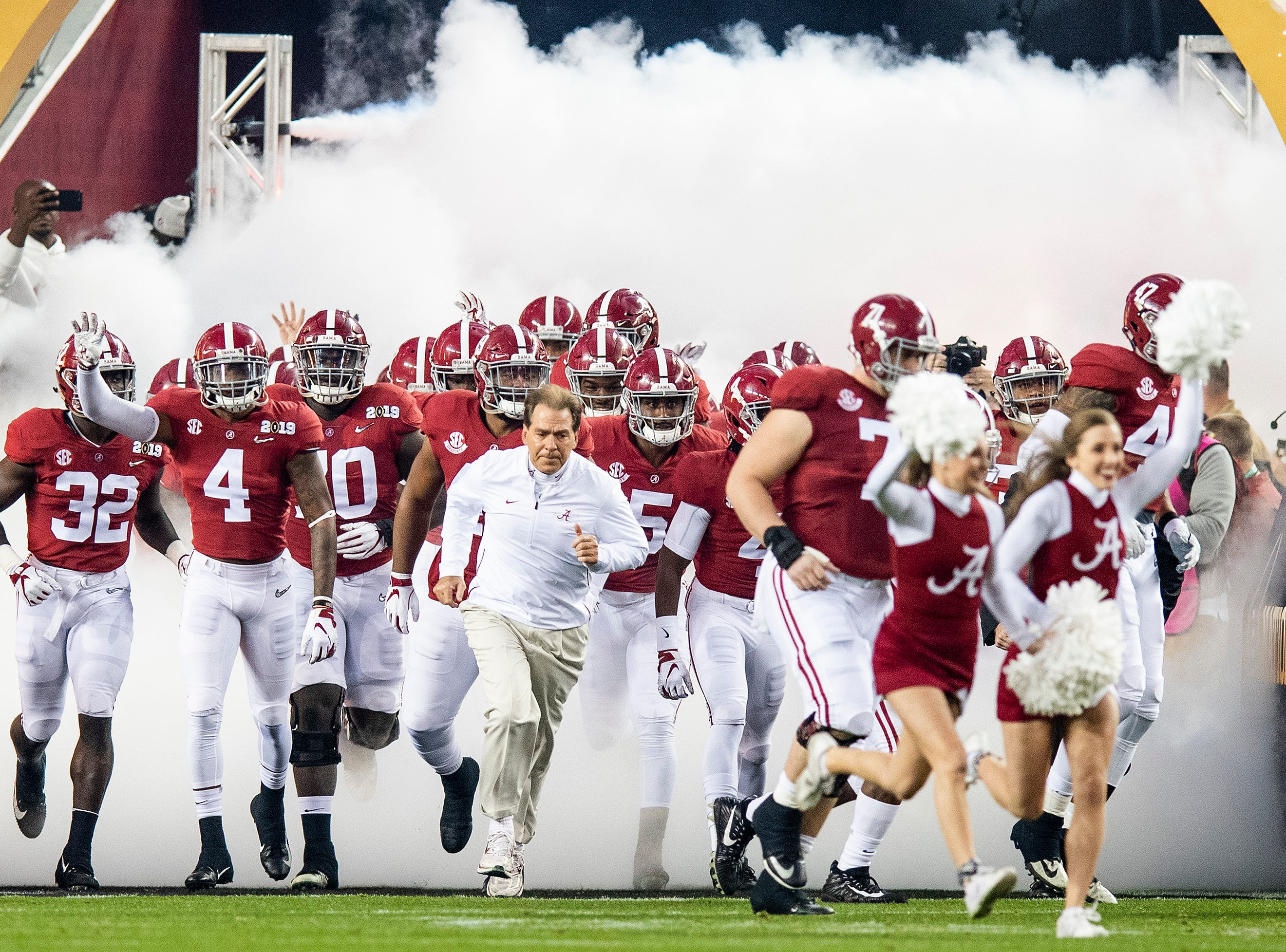 Alabama takes the field for the College Football Playoff National Championship game at Levi's Stadium in Santa Clara, Ca., on Monday January 7, 2019.
