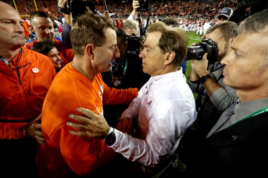 Jan 7, 2019; Santa Clara, CA, USA; Clemson Tigers head coach Dabo Swinney and Alabama Crimson Tide head coach Nick Saban shake hands after the 2019 College Football Playoff Championship game at Levi's Stadium. Mandatory Credit: Matthew Emmons-USA TODAY Sports