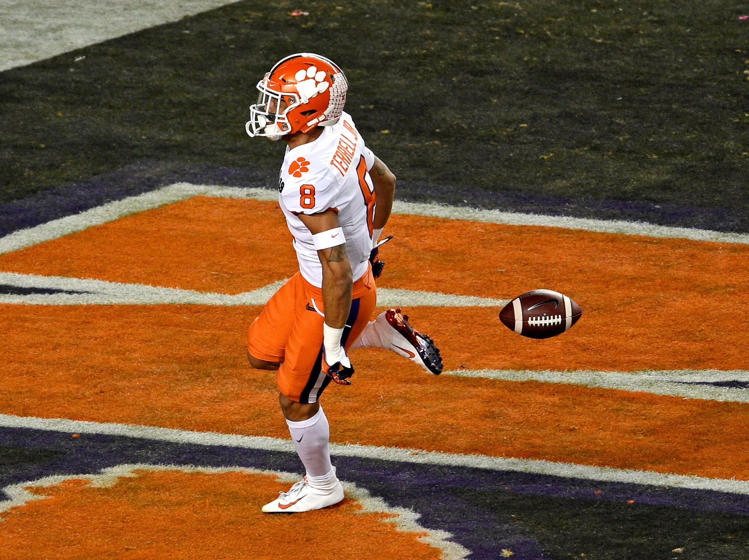 Jan 7, 2019; Santa Clara, CA, USA; Clemson Tigers cornerback A.J. Terrell (8) runs a interception for a touchdown against the Alabama Crimson Tide during the first quarter during the 2019 College Football Playoff Championship game at Levi's Stadium. Mandatory Credit: Kelvin Kuo-USA TODAY Sports