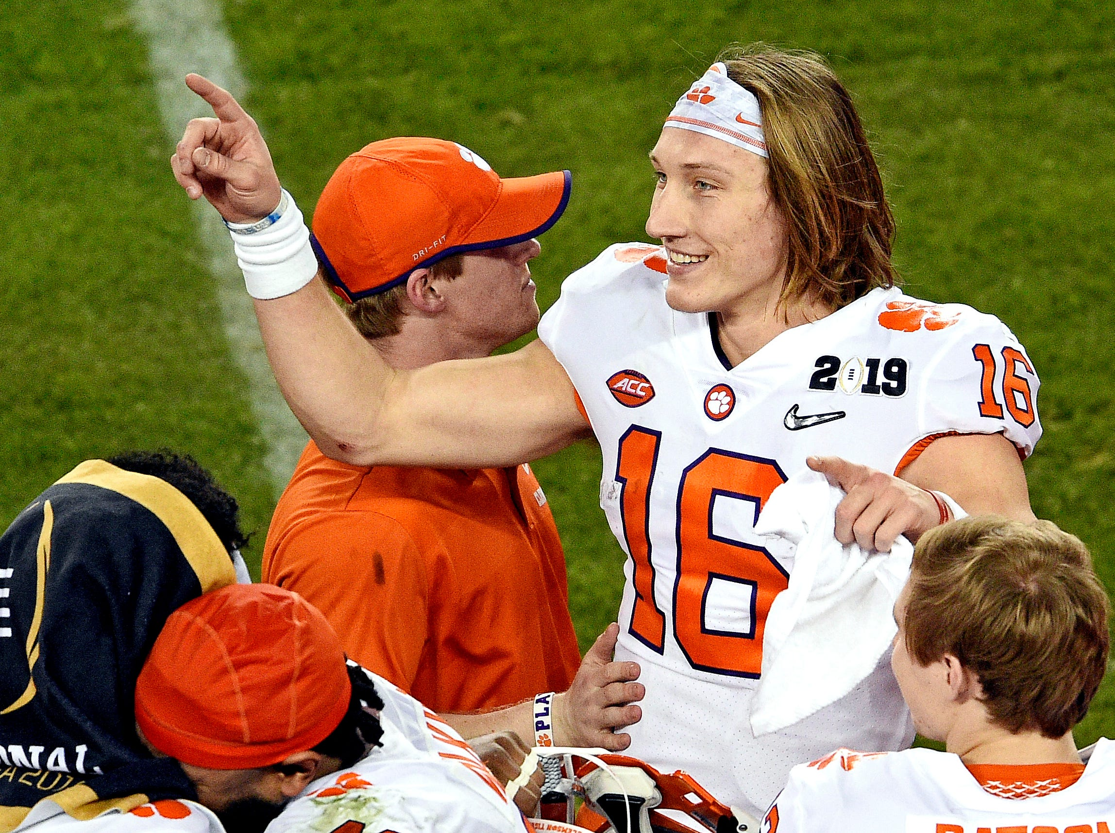 Jan 7, 2019; Santa Clara, CA, USA; Clemson Tigers quarterback Trevor Lawrence (16) celebrates during the fourth quarter against the Alabama Crimson Tide during the 2019 College Football Playoff Championship game at Levi's Stadium. Mandatory Credit: Kelvin Kuo-USA TODAY Sports