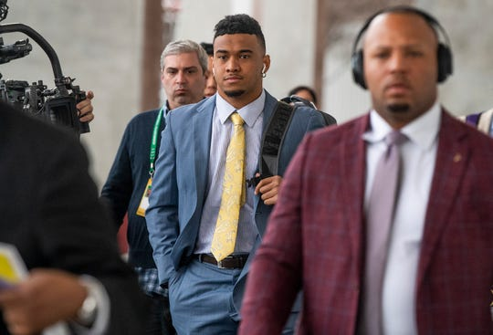 Alabama quarterback Tua Tagovailoa (13) arrives for the College Football Playoff National Championship game at Levi's Stadium in Santa Clara, Ca., on Monday January 7, 2019.