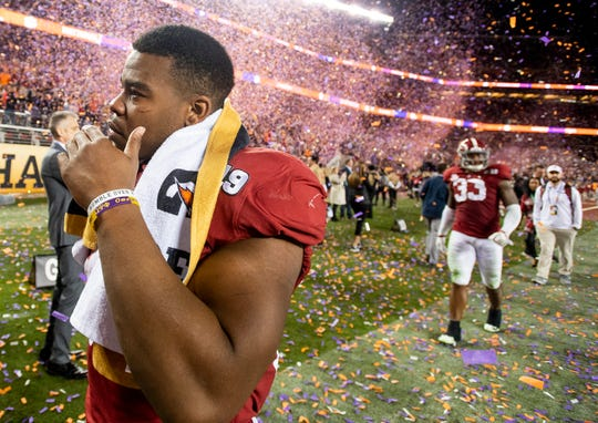 Alabama running back Damien Harris (34) walks off the field after lo0sing to Clemson in the College Football Playoff National Championship game at Levi's Stadium in Santa Clara, Ca., on Monday January 7, 2019.