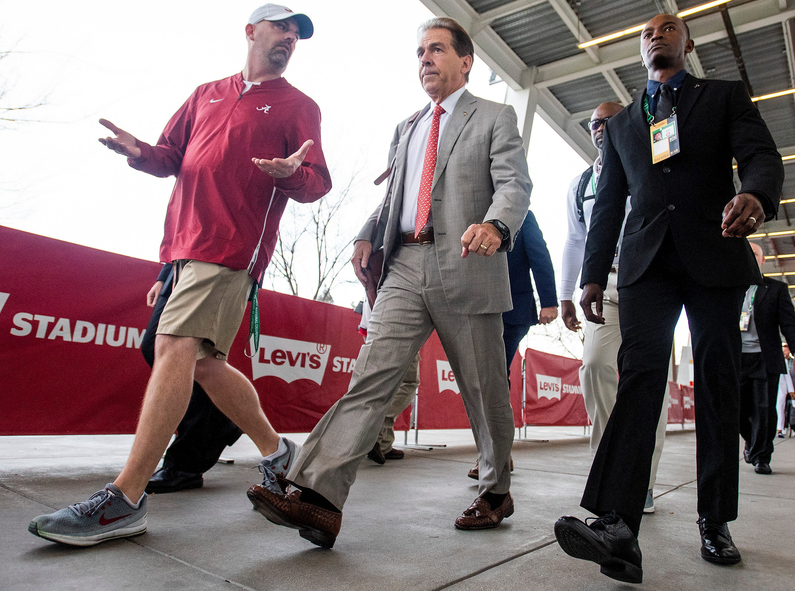 Alabama head coach Nick Saban arrives for the College Football Playoff National Championship game at Levi's Stadium in Santa Clara, Ca., on Monday January 7, 2019.