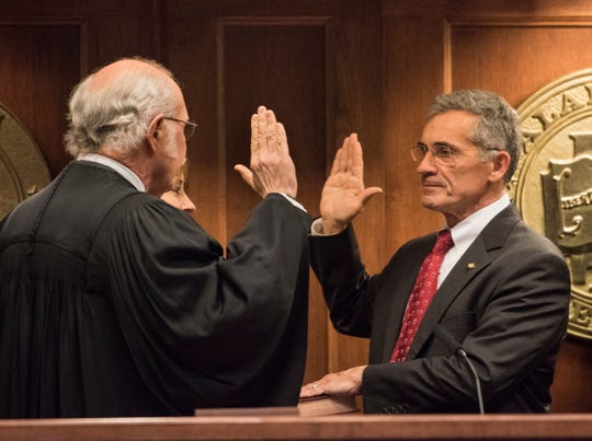 Senate President Pro Tem Del Marsh is sworn in during the 2019 Alabama Legislature's organizational session at the Alabama State House in Montgomery, Ala., on Tuesday, Jan. 8, 2019.