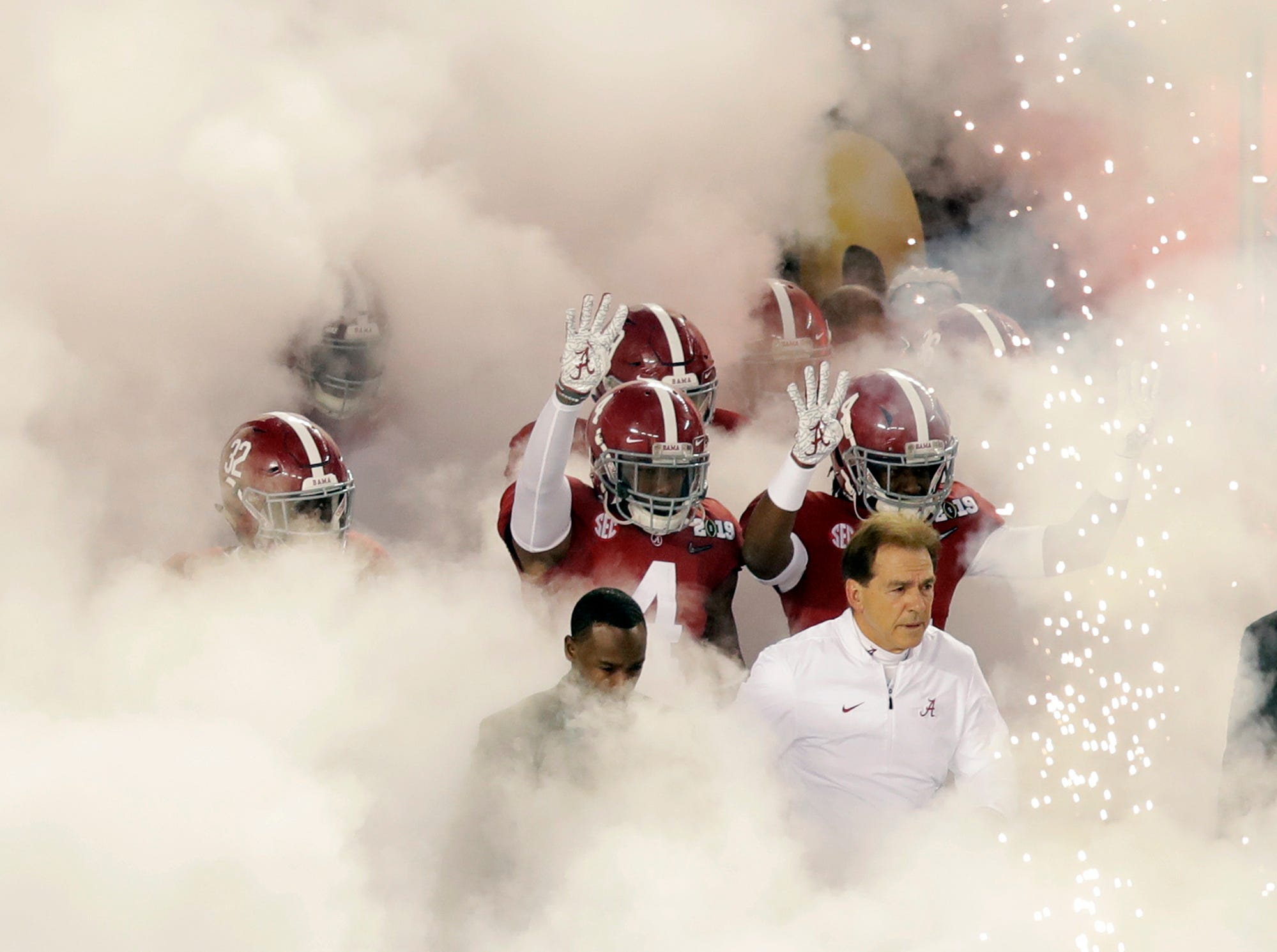 Alabama is introduced before the NCAA college football playoff championship game against Clemson, Monday, Jan. 7, 2019, in Santa Clara, Calif. (AP Photo/Jeff Chiu)
