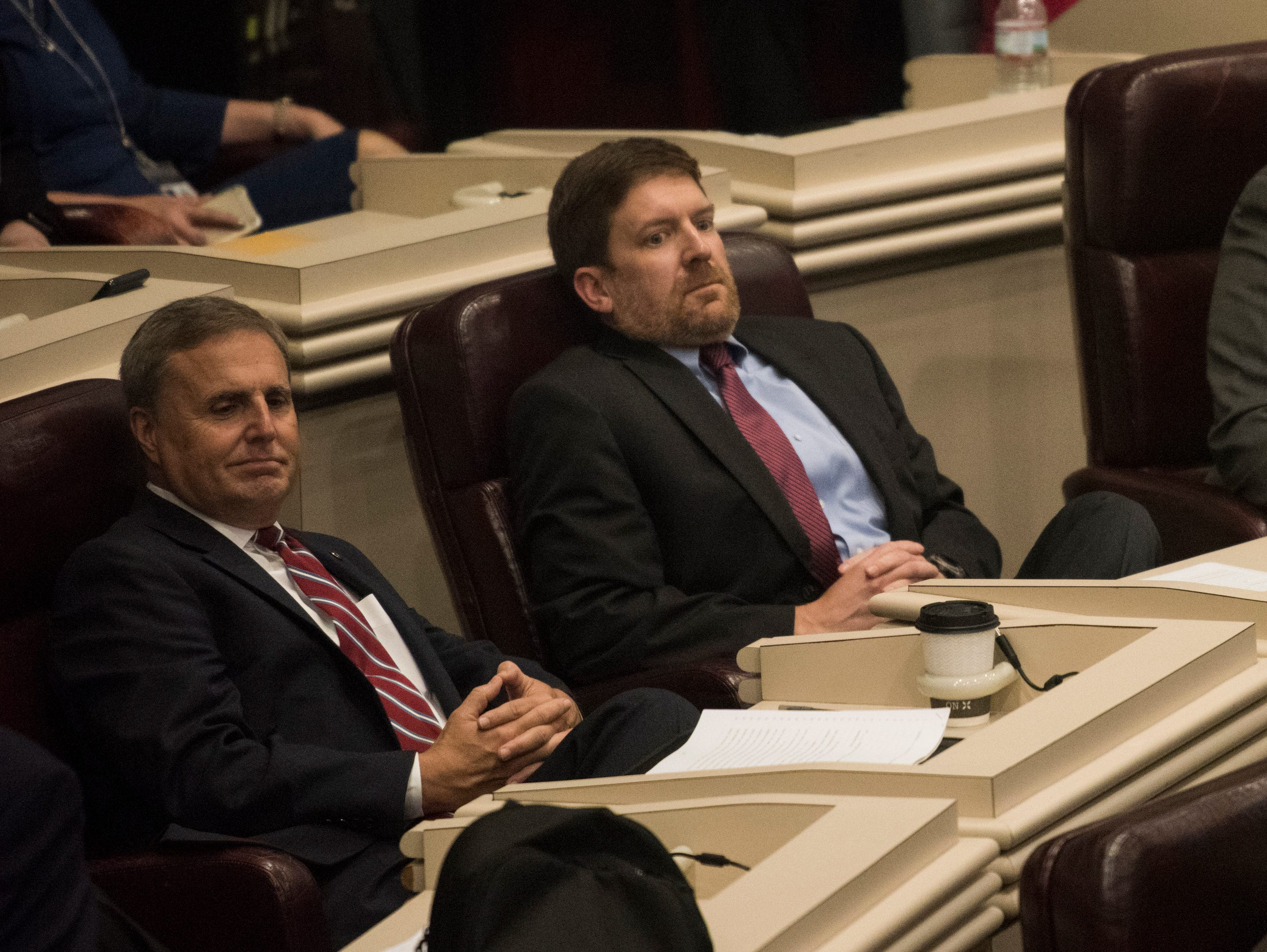 Rep. Bill Poole, right, during the 2019 Alabama Legislature's organizational session at the Alabama State House in Montgomery, Ala., on Tuesday, Jan. 8, 2019.