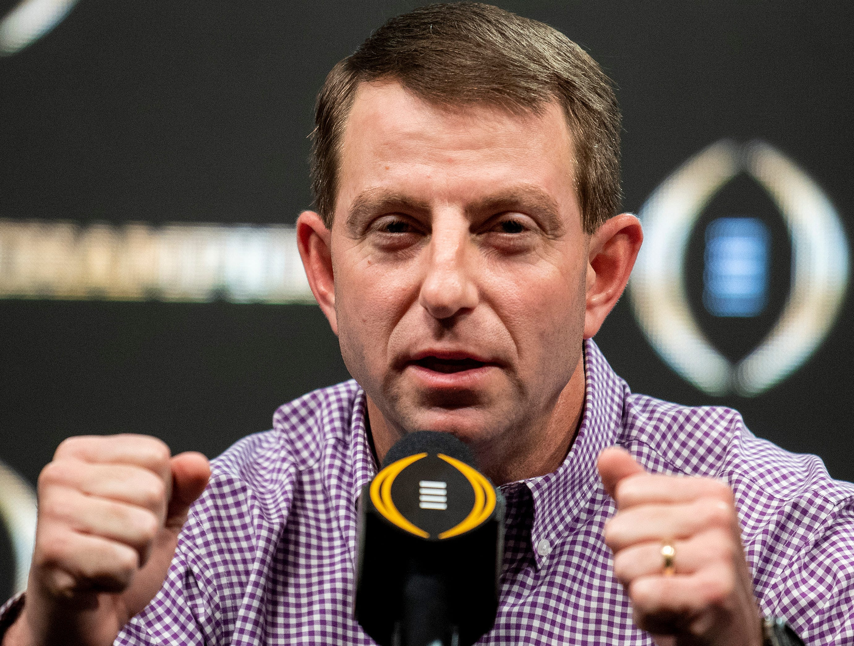 Clemson head coach Dabo Swinney during the College Football Playoff National Championship press conference in San Jose, Ca., on Tuesday January 8, 2019.