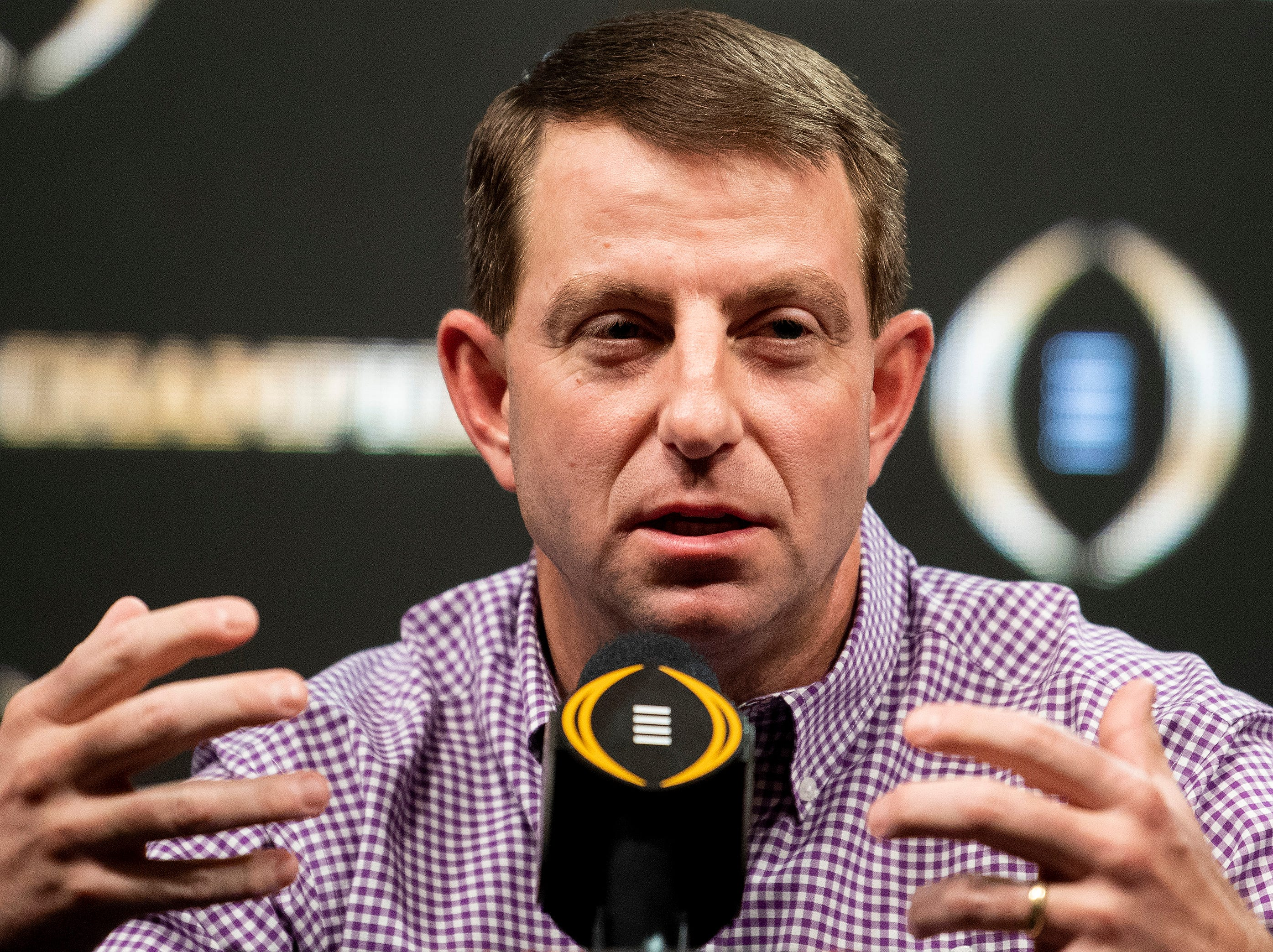 Clemson head coach Dabo Swinney speaks during the College Football Playoff National Championship press conference in San Jose, Ca., on Tuesday January 8, 2019.
