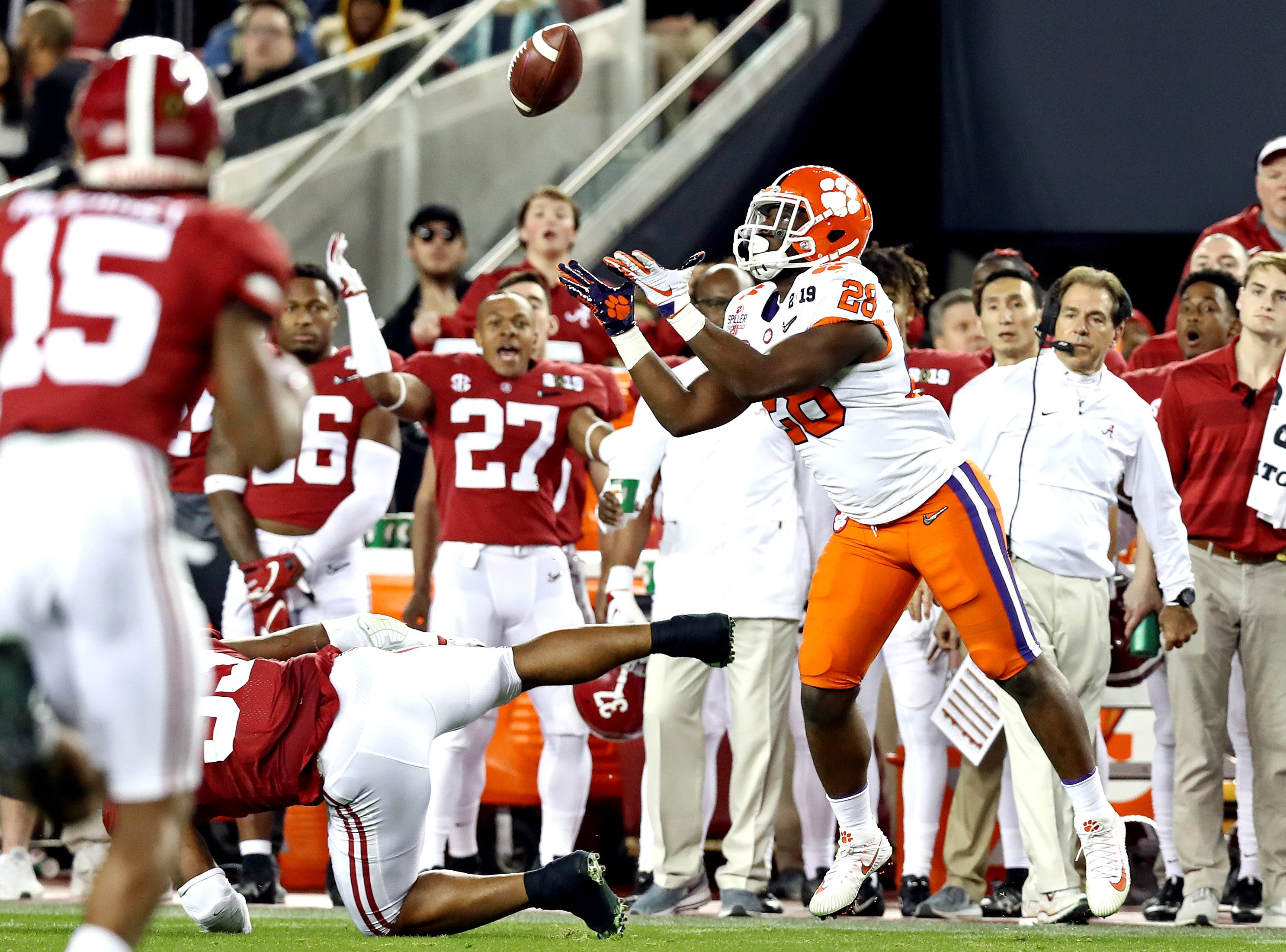 Jan 7, 2019; Santa Clara, CA, USA; Clemson Tigers running back Tavien Feaster (28) catches the ball during the first half against the Alabama Crimson Tide during the 2019 College Football Playoff Championship game at Levi's Stadium. Mandatory Credit: Matthew Emmons-USA TODAY Sports