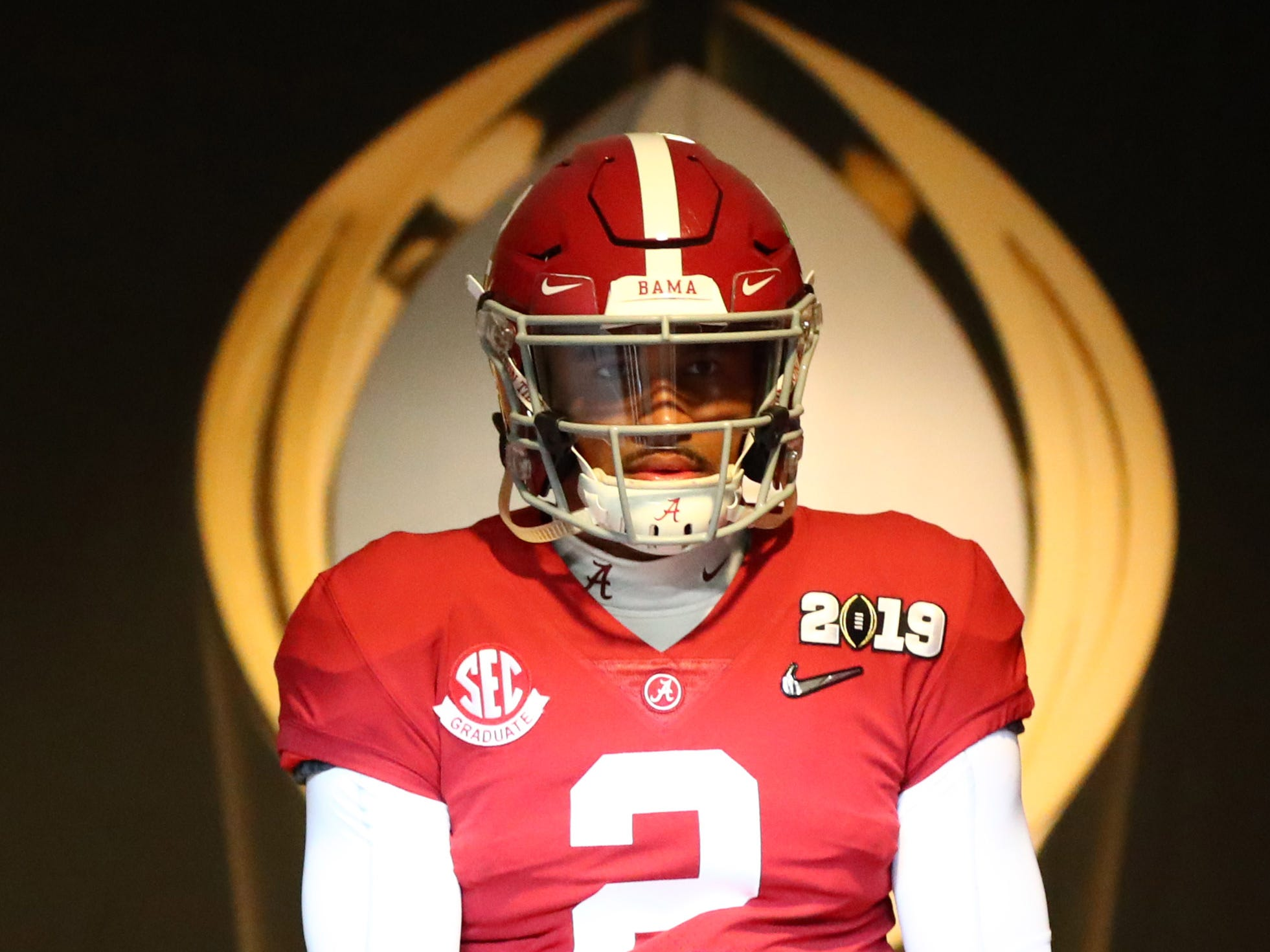 Jan 7, 2019; Santa Clara, CA, USA; Alabama Crimson Tide quarterback Jalen Hurts (2) walks to the field before the 2019 College Football Playoff Championship game against the Clemson Tigers at Levi's Stadium. Mandatory Credit: Mark J. Rebilas-USA TODAY Sports