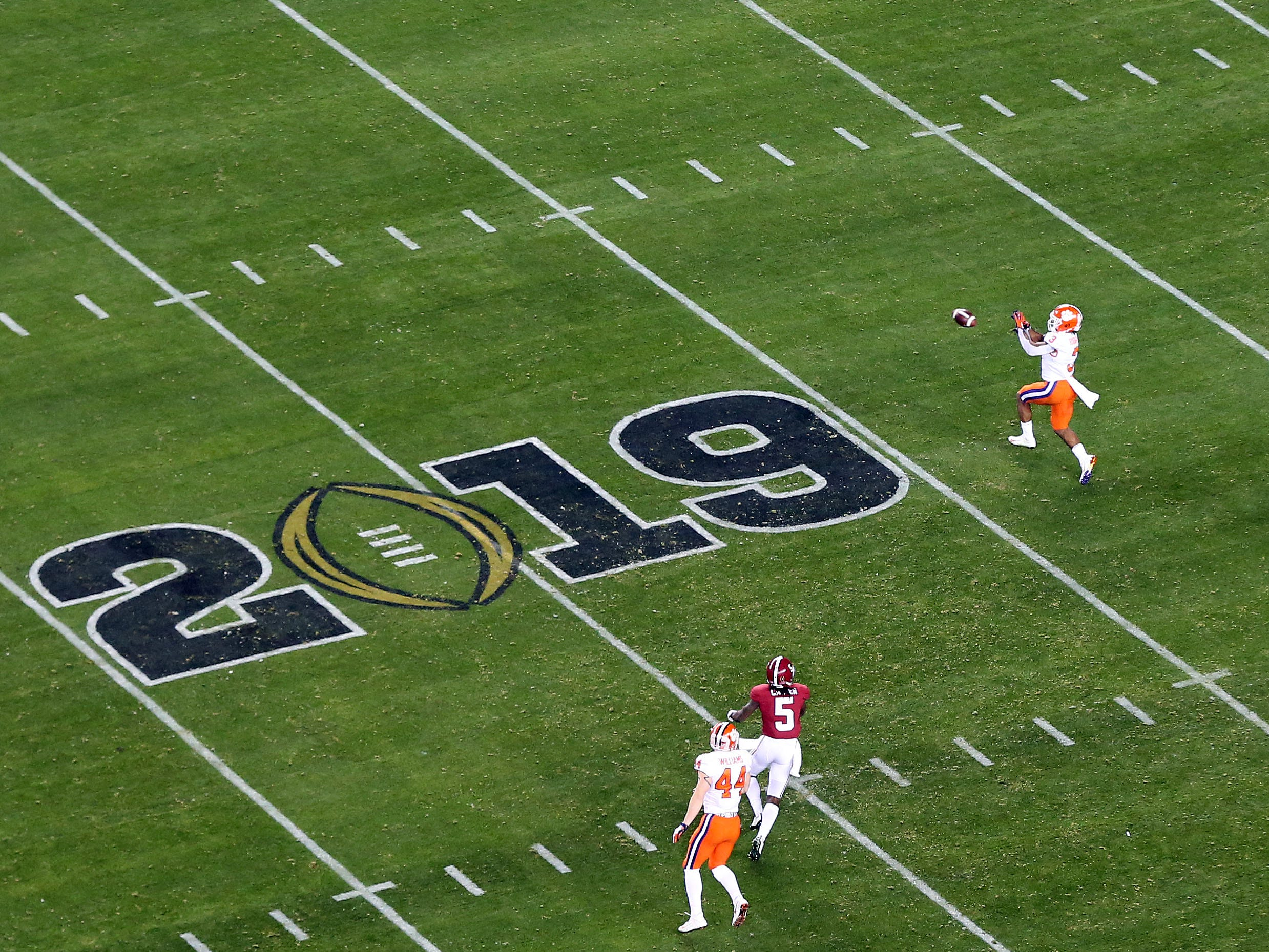 Jan 7, 2019; Santa Clara, CA, USA; Clemson Tigers wide receiver Amari Rodgers (3) makes a catch in the second quarter against the Alabama Crimson Tide during the 2019 College Football Playoff Championship game at Levi's Stadium. Mandatory Credit: James Lang-USA TODAY Sports