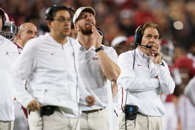 Jan 7, 2019; Santa Clara, CA, USA; Alabama Crimson Tide head coach Nick Saban looks on during the third quarter in the 2019 College Football Playoff Championship game against the Clemson Tigers at Levi's Stadium. Mandatory Credit: Kyle Terada-USA TODAY Sports