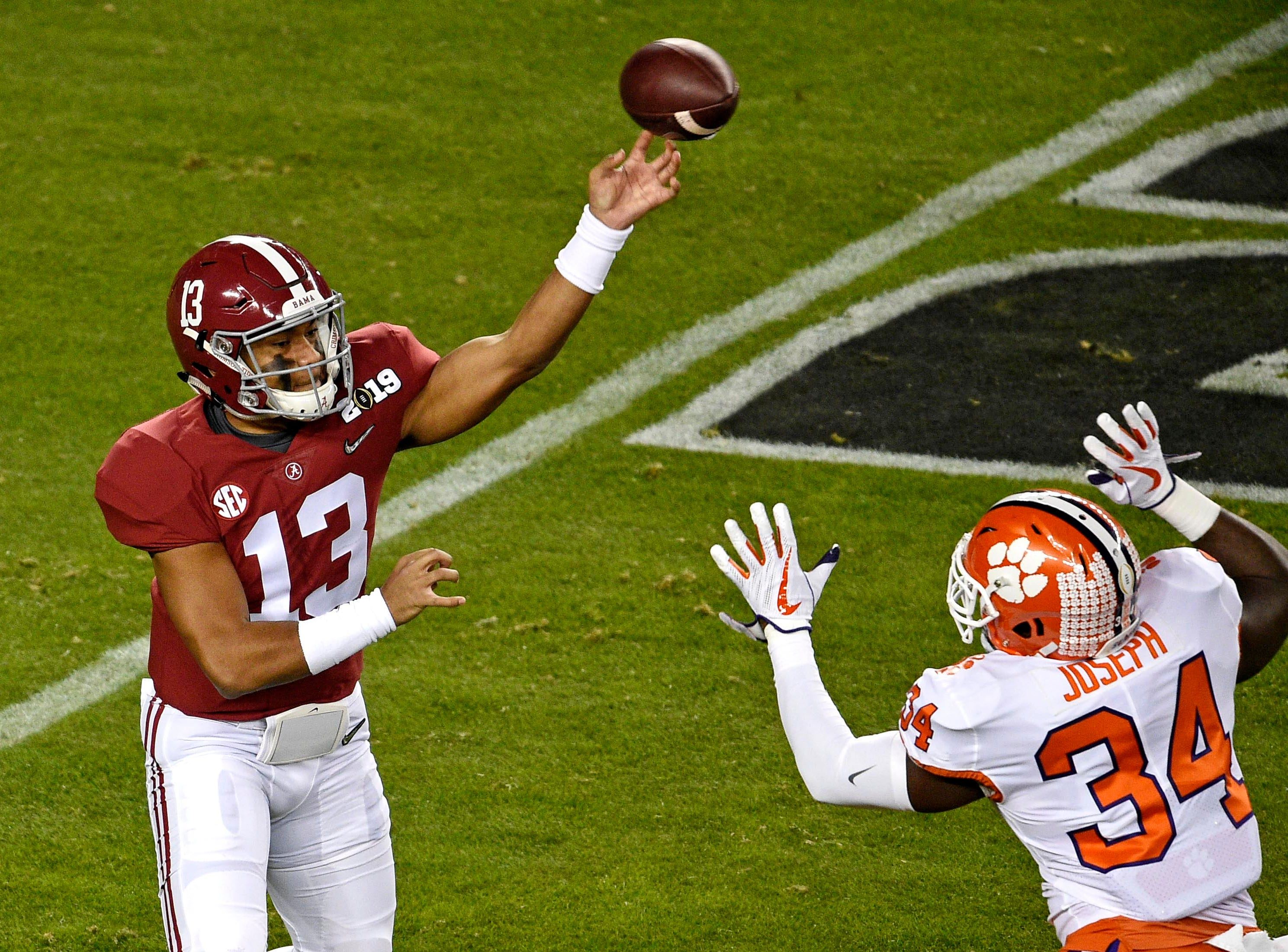 Jan 7, 2019; Santa Clara, CA, USA; Alabama Crimson Tide quarterback Tua Tagovailoa (13) throws a pass during the first quarter against the Clemson Tigers during the 2019 College Football Playoff Championship game at Levi's Stadium. Mandatory Credit: Kelvin Kuo-USA TODAY Sports