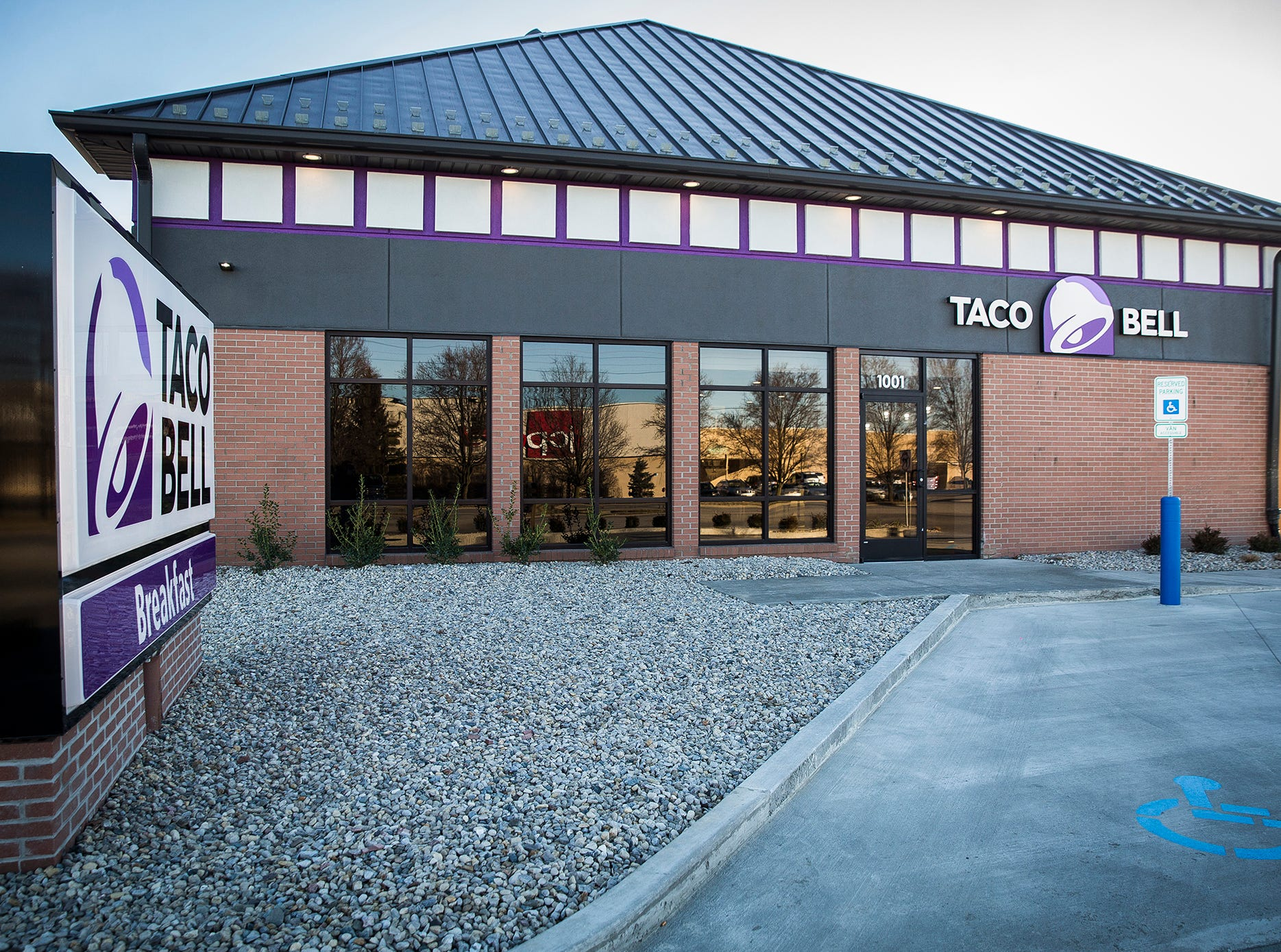 The newly constructed Taco Bell at 1001 E. McGalliard Road, former site of Old National Bank.