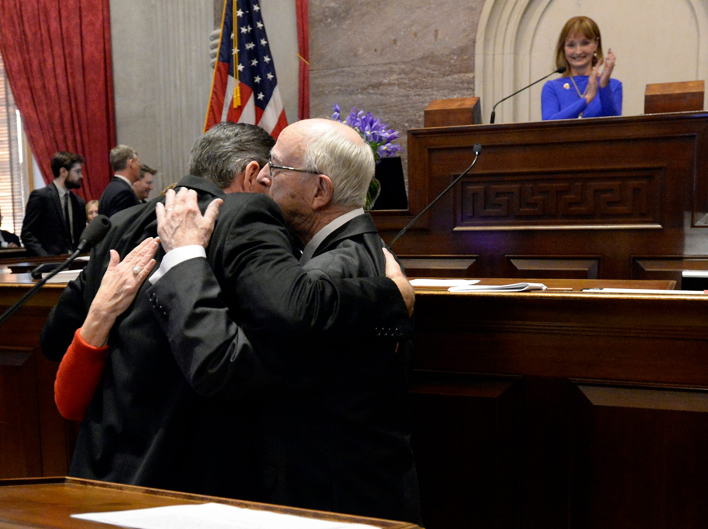 Newly elected House Speaker Glen Casada, R-Franklin, hugs his parents Karen, left, Dick, after being sworn in by Tennessee Supreme Court Chief Justice Jeff Bivins on the opening day of the 111th General Assembly Tuesday, Jan. 8, 2019, in Nashville, Tenn.