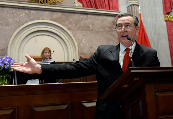 Newly elected House Speaker Glen Casada, R-Franklin, speaks after being sworn in on the opening day of the 111th General Assembly on Jan. 8, 2019.