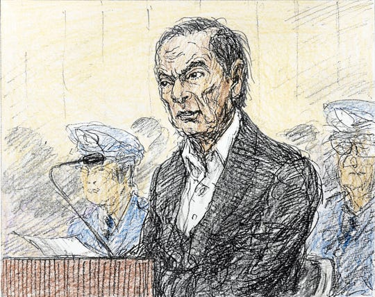 This courtroom sketch depicts former Nissan chairman Carlos Ghosn in a courtroom at the Tokyo District Court in Tokyo Tuesday, Jan. 8, 2019. Ghosn appeared in court on Tuesday and asserted his innocence while demanding the reason for his prolonged detention. The hearing was his first public appearance since his Nov. 19, 2018 arrest.(Nobutoshi Katsuyama/Kyodo News via AP)