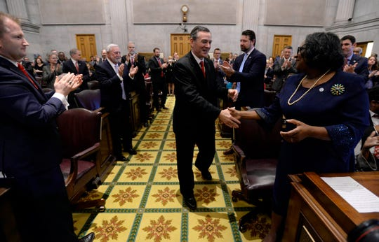 Glen Casada, R-Franklin, is greeted as he walks to the podium after being elected as House Speaker during the 111th General Assembly on Tuesday, Jan. 8, 2019, in Nashville, Tenn.
