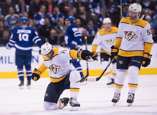Nashville Predators defenceman P.K. Subban (76) celebrates his goal against the Toronto Maple Leafs as teammate Matt Irwin looks on during second-period NHL hockey game action in Toronto, Monday, Jan. 7, 2019.