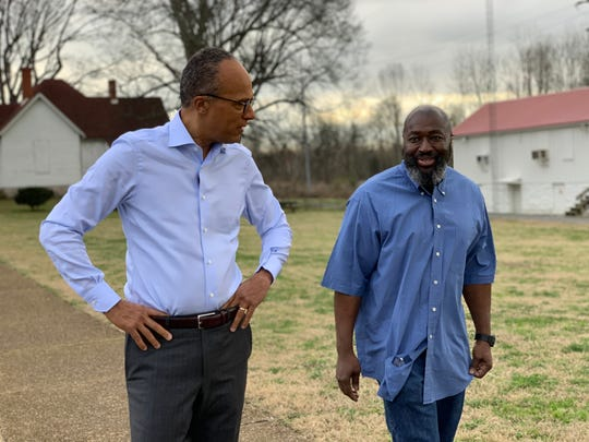 Matthew Charles, right, speaks to NBC's Lester Holt about his re-release from Nashville first interview since the ruling.