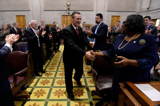 "Rep. Glen Casada, R-Franklin, is greeted after being elected House speaker Jan. 8. Casada is standing by his recent decision to have a handful of protesters removed from a committee hearing. ""There must be order. The people's business must be done,"" he told reporters Thursday."