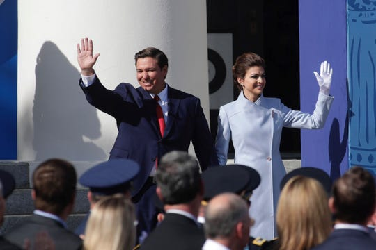 Gov. Ron DeSantis and his wife, Casey, greet the crowd at his inauguration Tuesday, Jan. 8, 2019, at the Old Capitol in Tallahassee.