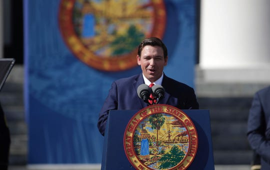 Gov. Ron DeSantis is inaugurated Tuesday, Jan. 8, 2019, at Florida's Old Capitol in Tallahassee.