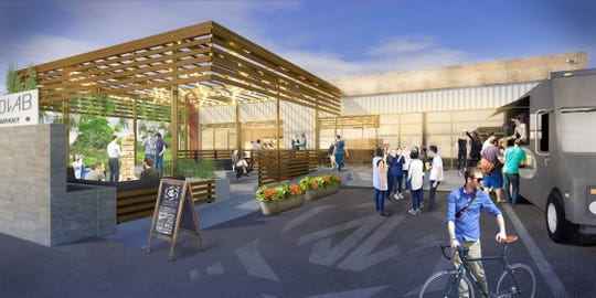 A rendering of the beer garden terrace and Pit Commander Barbecue food truck planned as part of Ankrolab Brewing Co. on Bayshore Drive in East Naples.