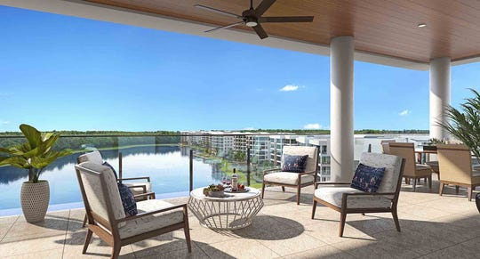 The Clubhouse Residences at Moorings Park Grande Lake offer panoramic lake and golf course views.