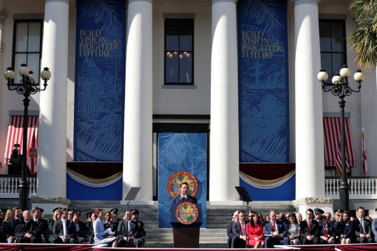 Gov. Ron DeSantis is sworn in Tuesday, Jan. 8, 2019, at Florida's Old Capitol in Tallahassee.