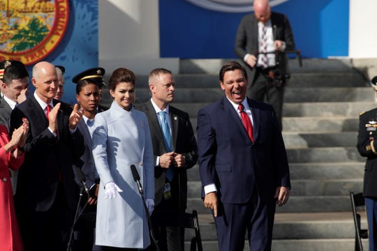 Gov. Ron DeSantis reacts at Tuesday's inauguration ceremony at Florida's Old Capitol on Jan. 8, 2019, in Tallahassee.